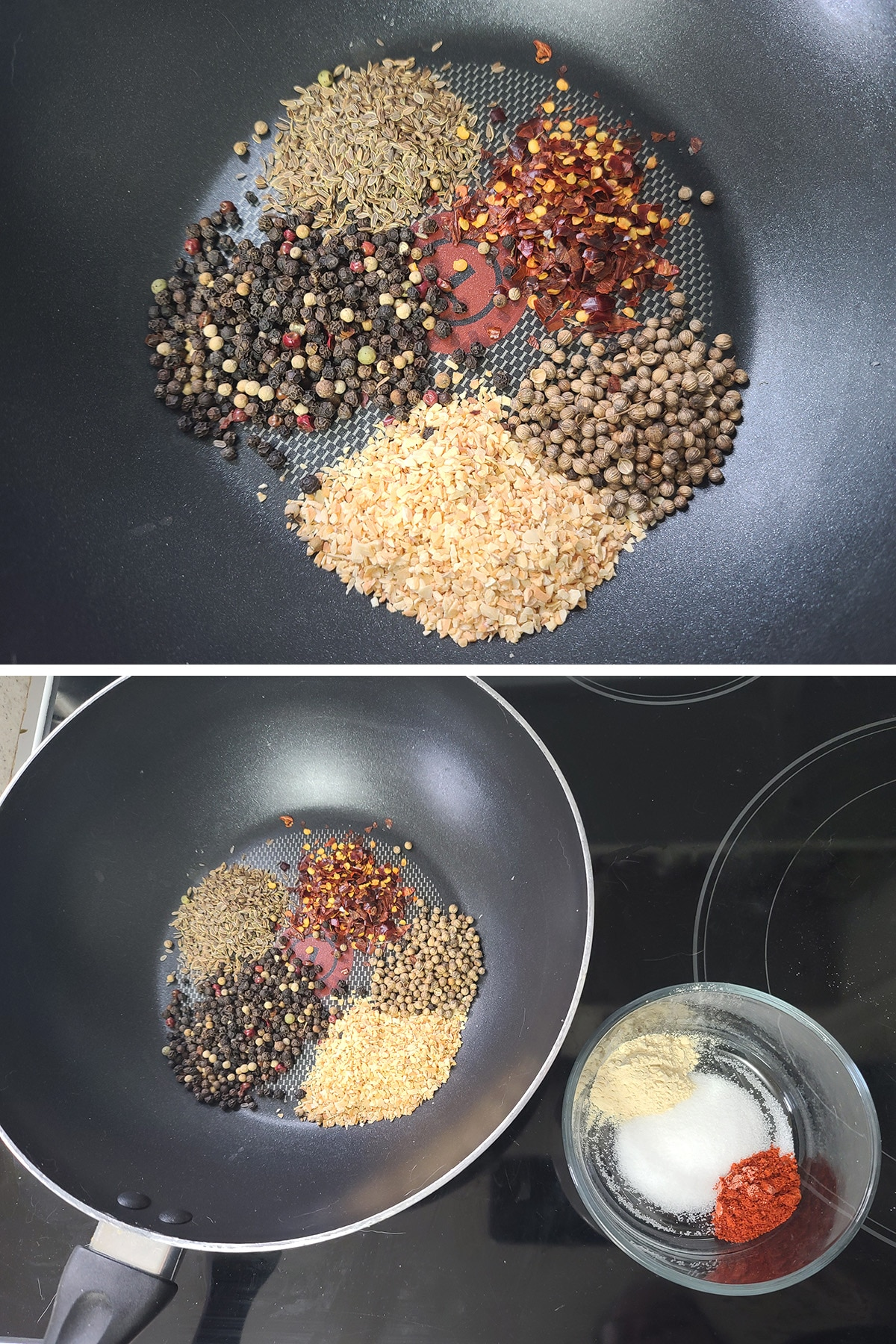 A two part compilation image showing spices measured into a pan, and that pan next to a small bowl of powdered spices.