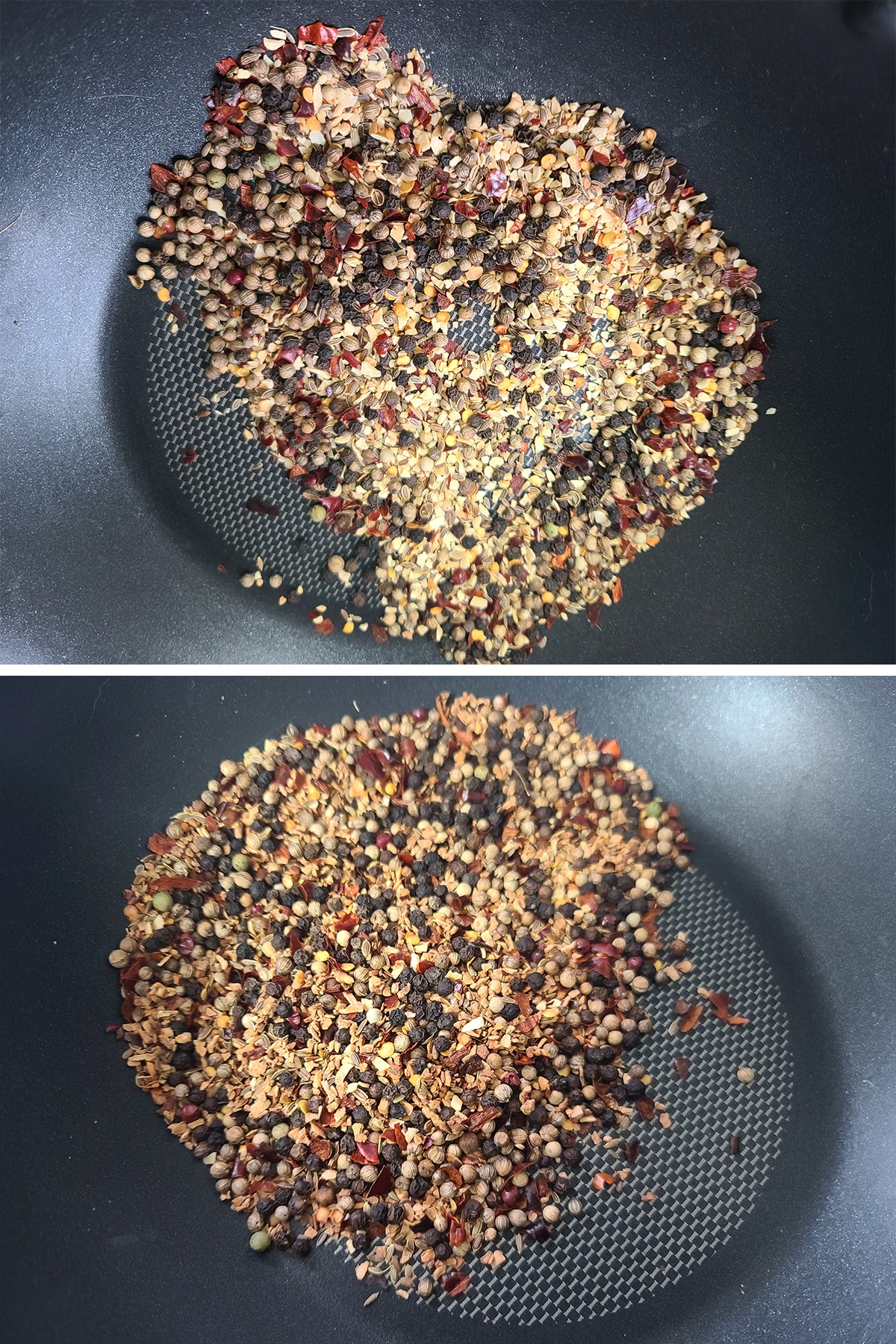 A two part compilation image showing whole spices in a nonstick pan, before and after toasting.