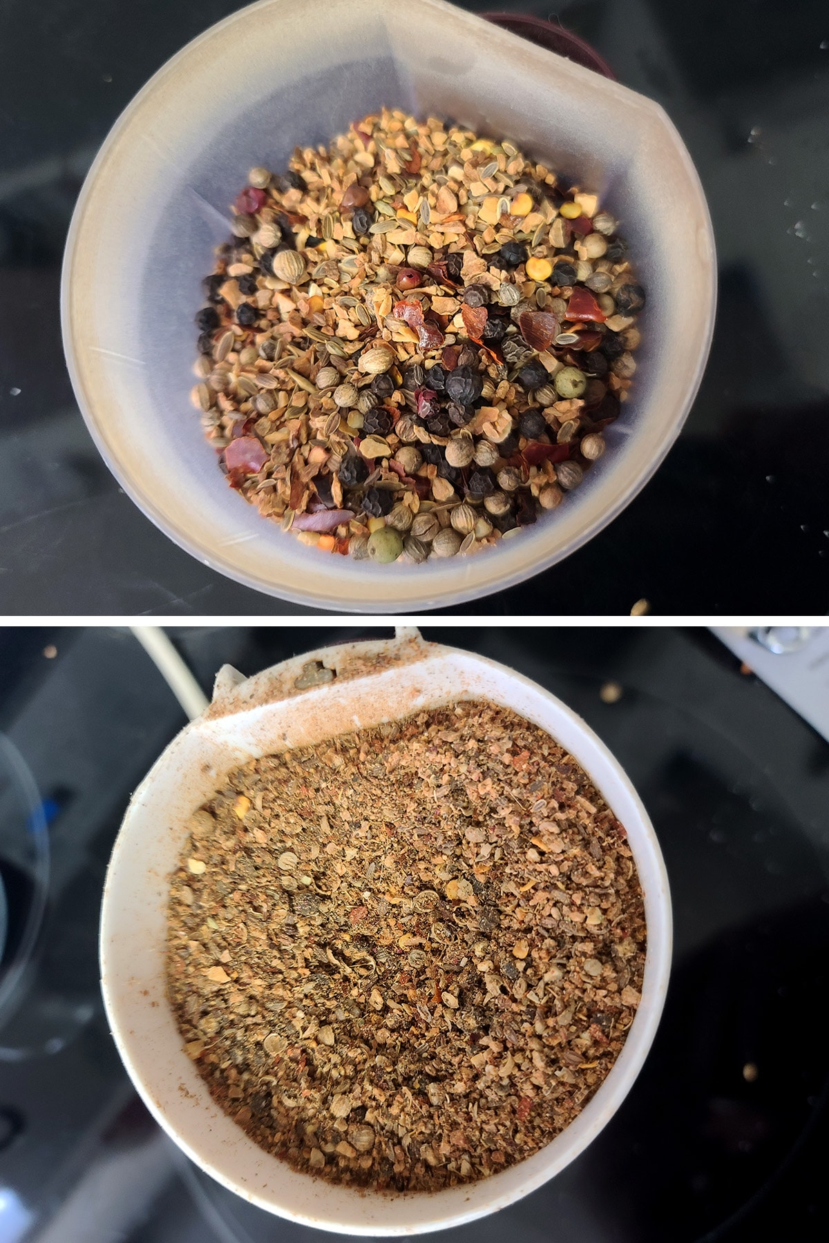 A two part compilation image showing spices in a spice grinder, before and after being ground down.