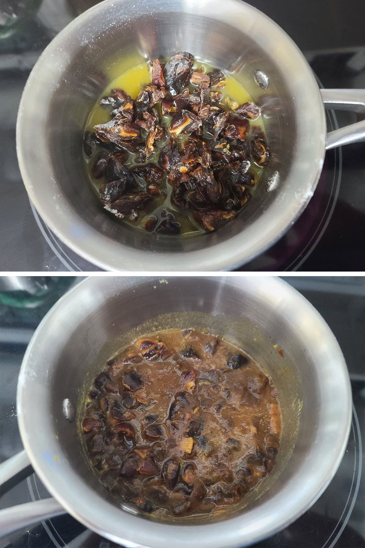A two part compilation image showing dates and orange juice in a small pan, before and after simmering. In the second photo, the dates have broken down a bit.