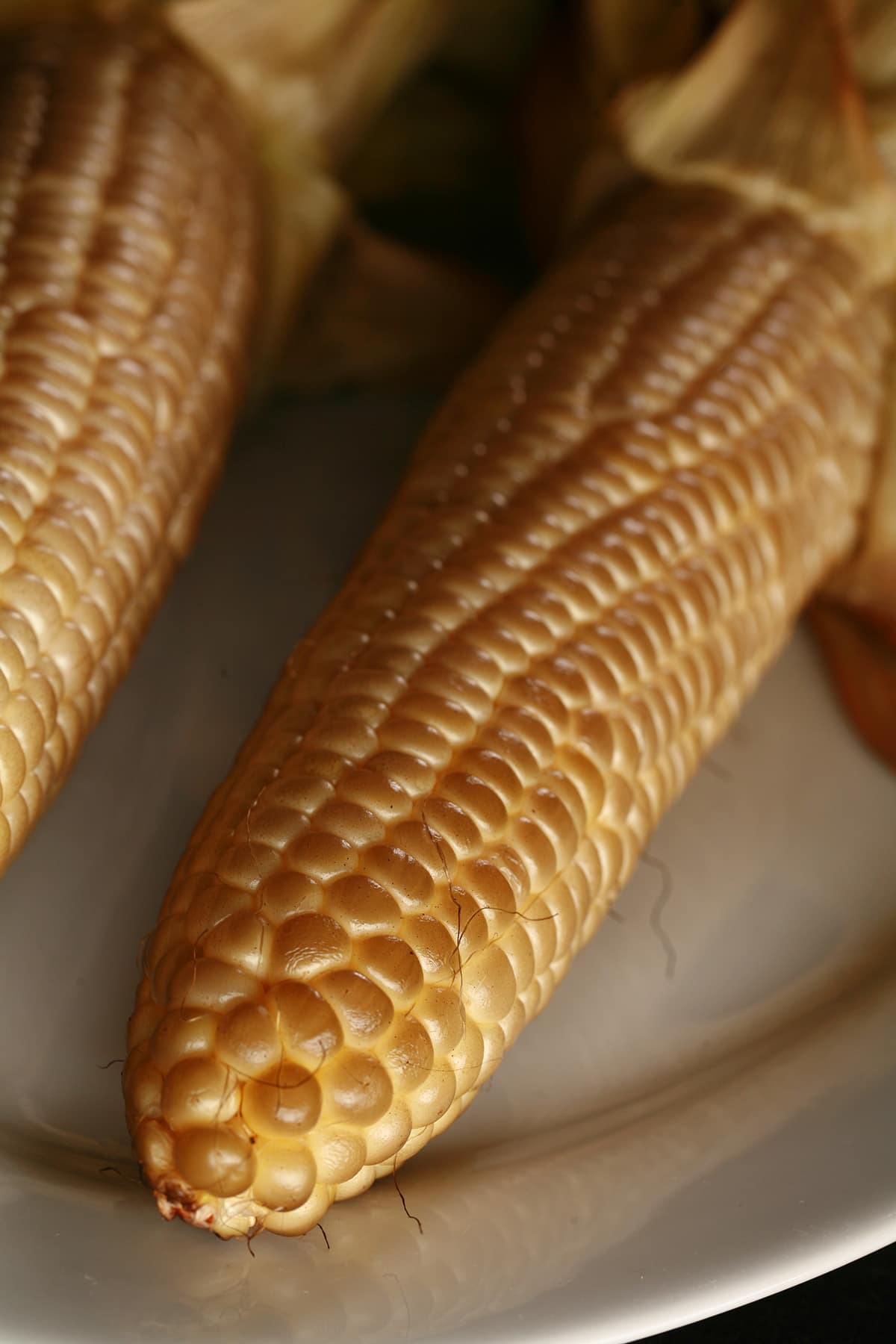 2 ears of smoked corn on the cob, on a white plate.