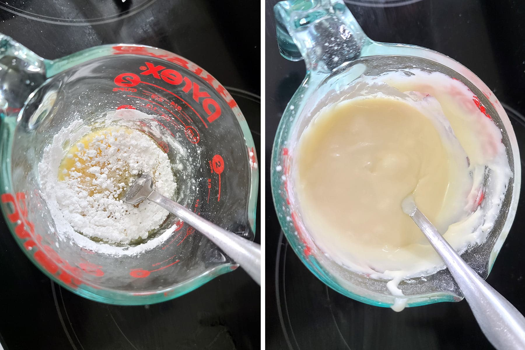 A two part compilation image showing a glass measuring cup with orange glaze being mixed in it. First as a chunky miixture, and finally as a smooth frosting.