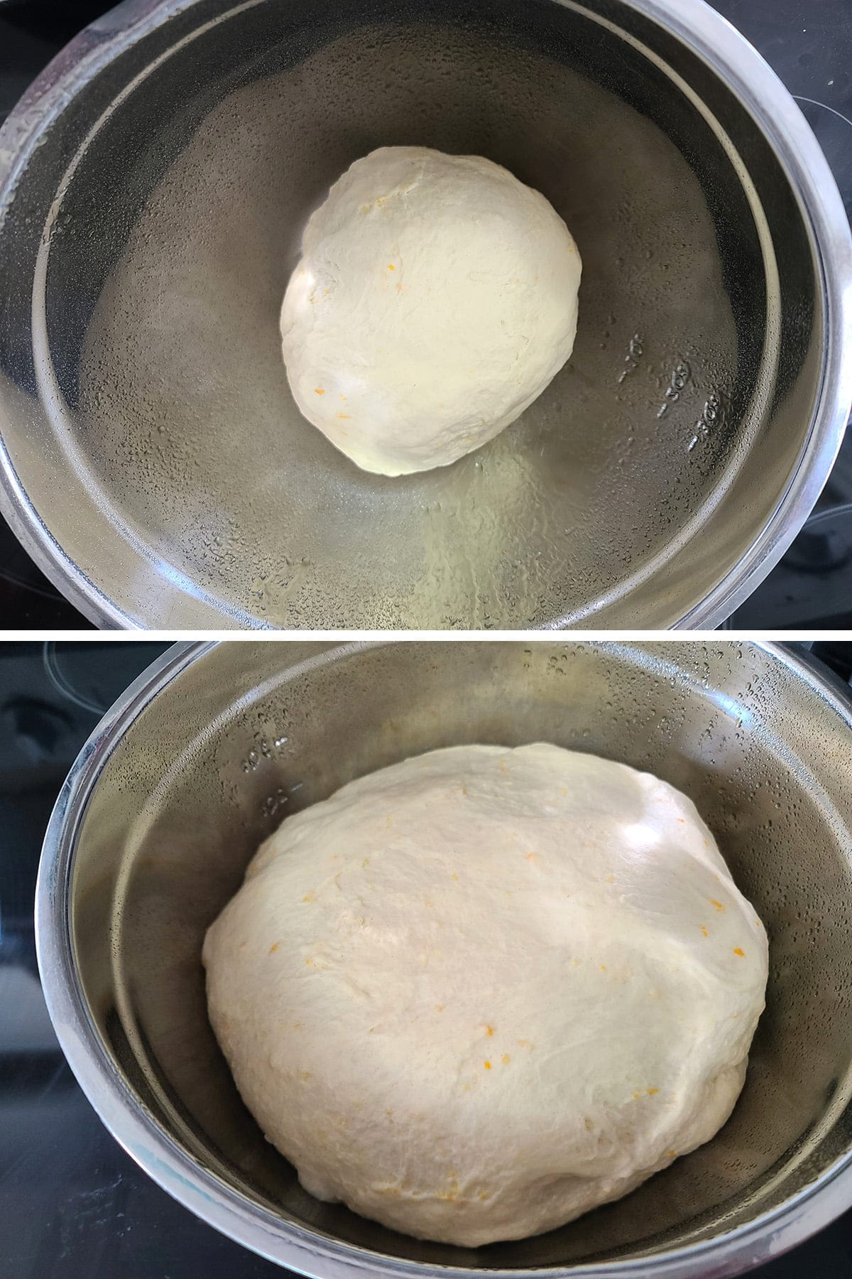 A two part compilation image showing the dough before and after rising. In the second image, the dough is more than twice the size it was in the first image.