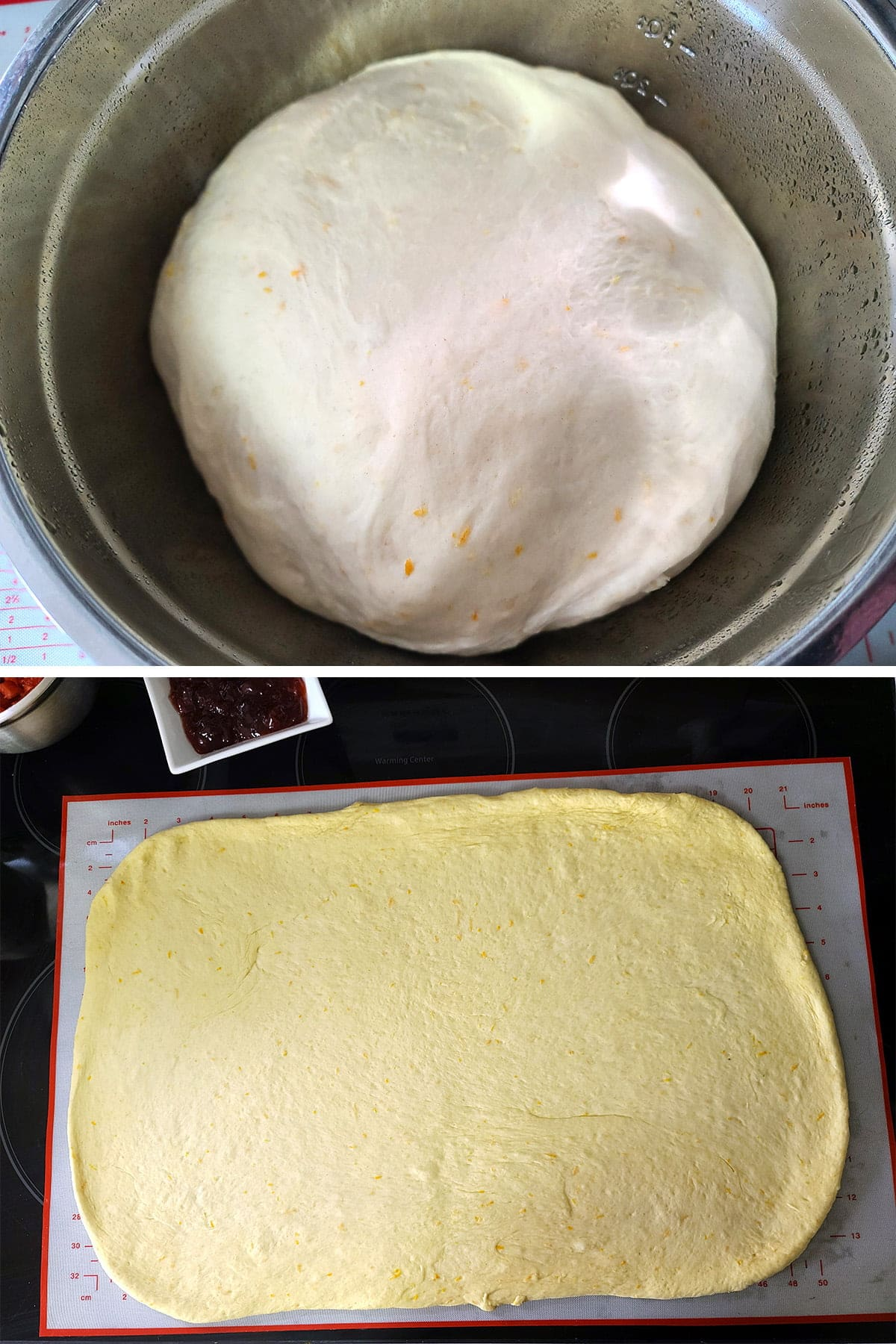 A two part compilation image showing a large ball of orange-flecked dough, and that dough rolled out into a large rectangle.