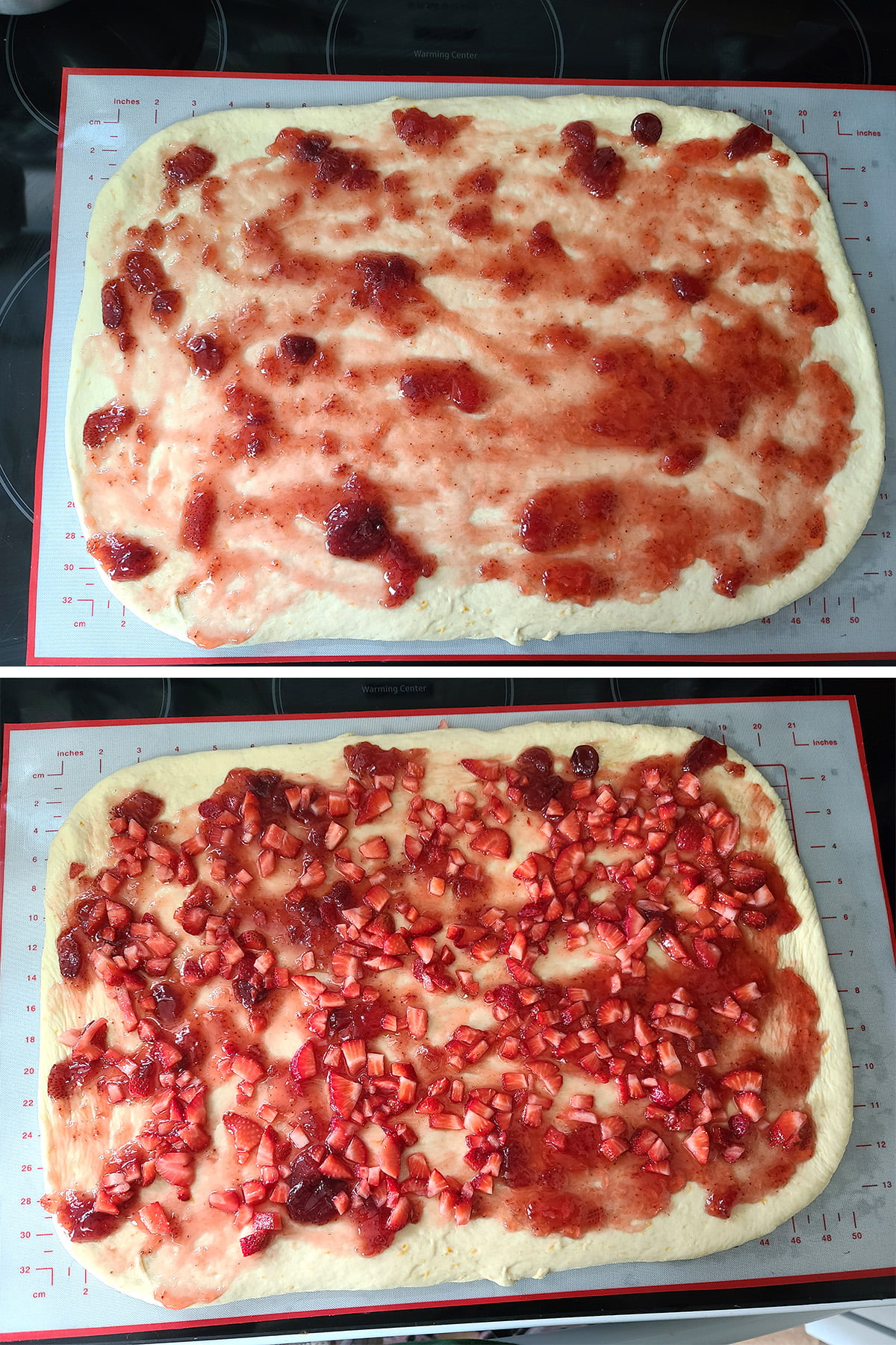 A two part compilation image showing the rectangle of dough being spread with strawberry jam, and then topped with the chopped strawberries mixture.