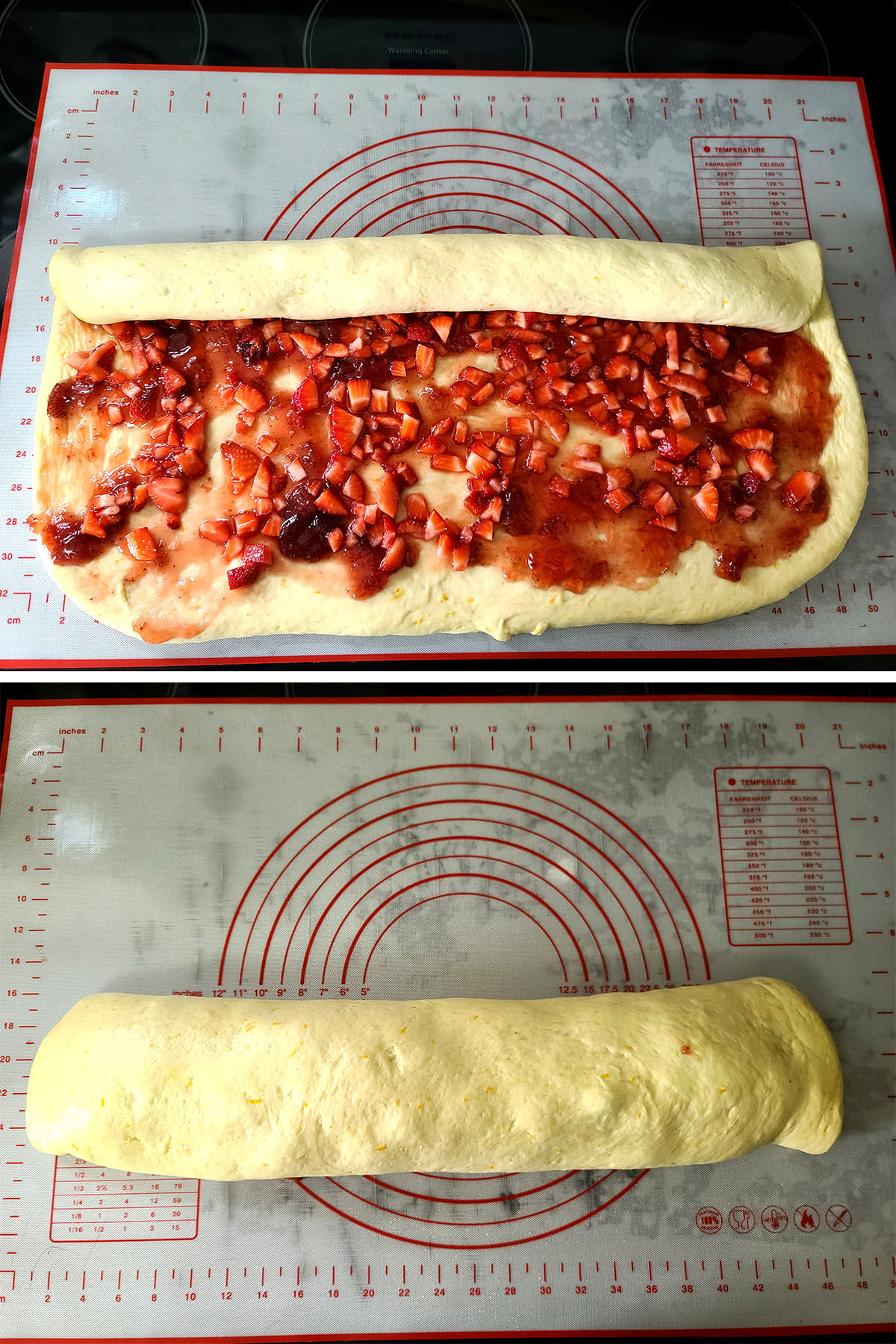 A two part compilation image showing the strawberry roll dough being rolled up into a large log.