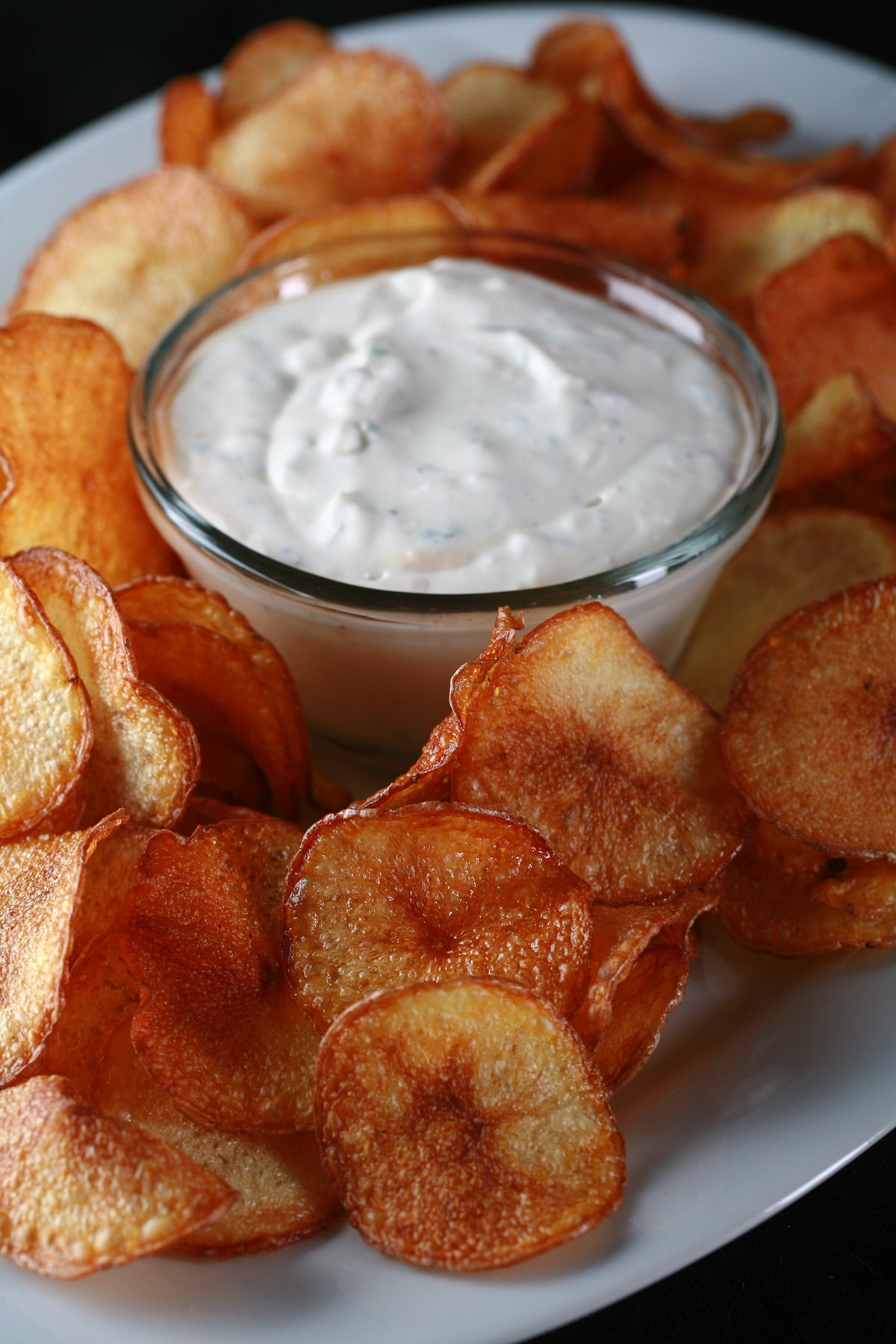 A large platter of fried potato slices, with a bowl of cactus dip. Based on a Boston Pizza appetizer.