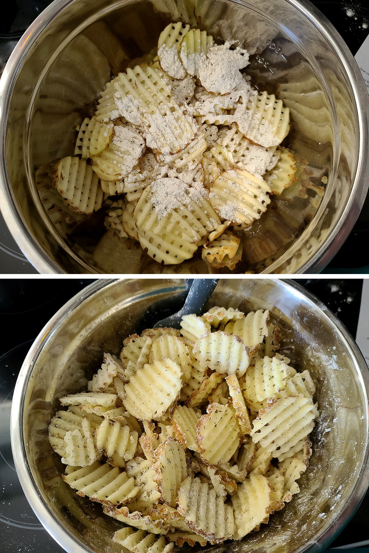A two part compilation image showing a metal bowl of waffle cut potatoes, with coating mix. In the first image, it's measured on top of the potatoes, in the second, it;s been tossed to coat them.