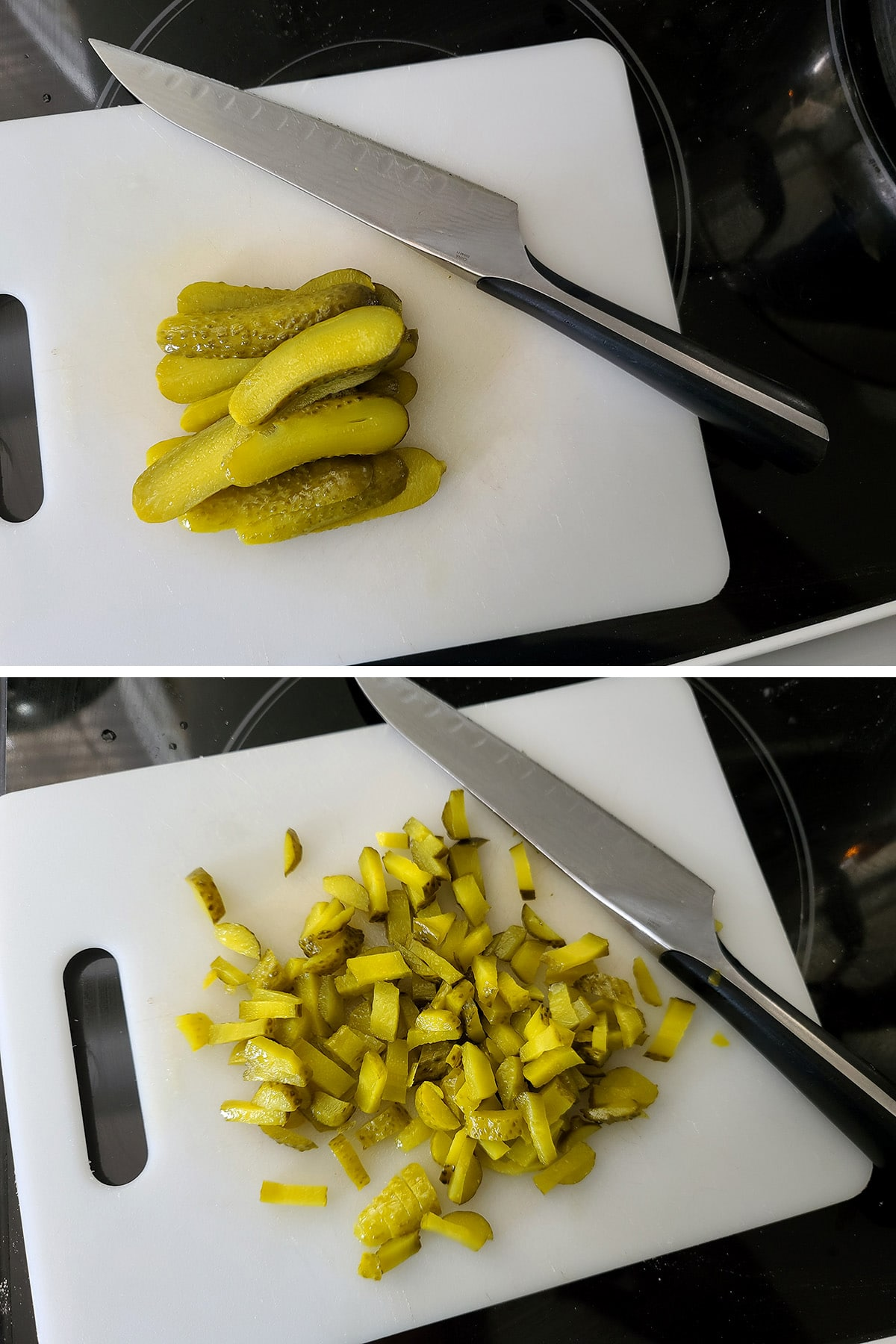A two part compilation image showing pickles on a cutting board. In the first, they're cut into lengthwise strips, in the second they're sliced crosswise.
