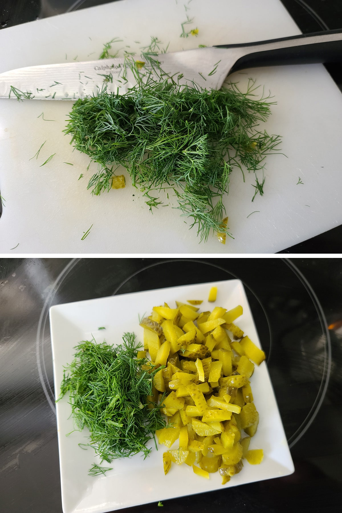A two part compilation image showing dill being chopped on a cutting board, then chopped dill and sliced pickles on a small white plate together.