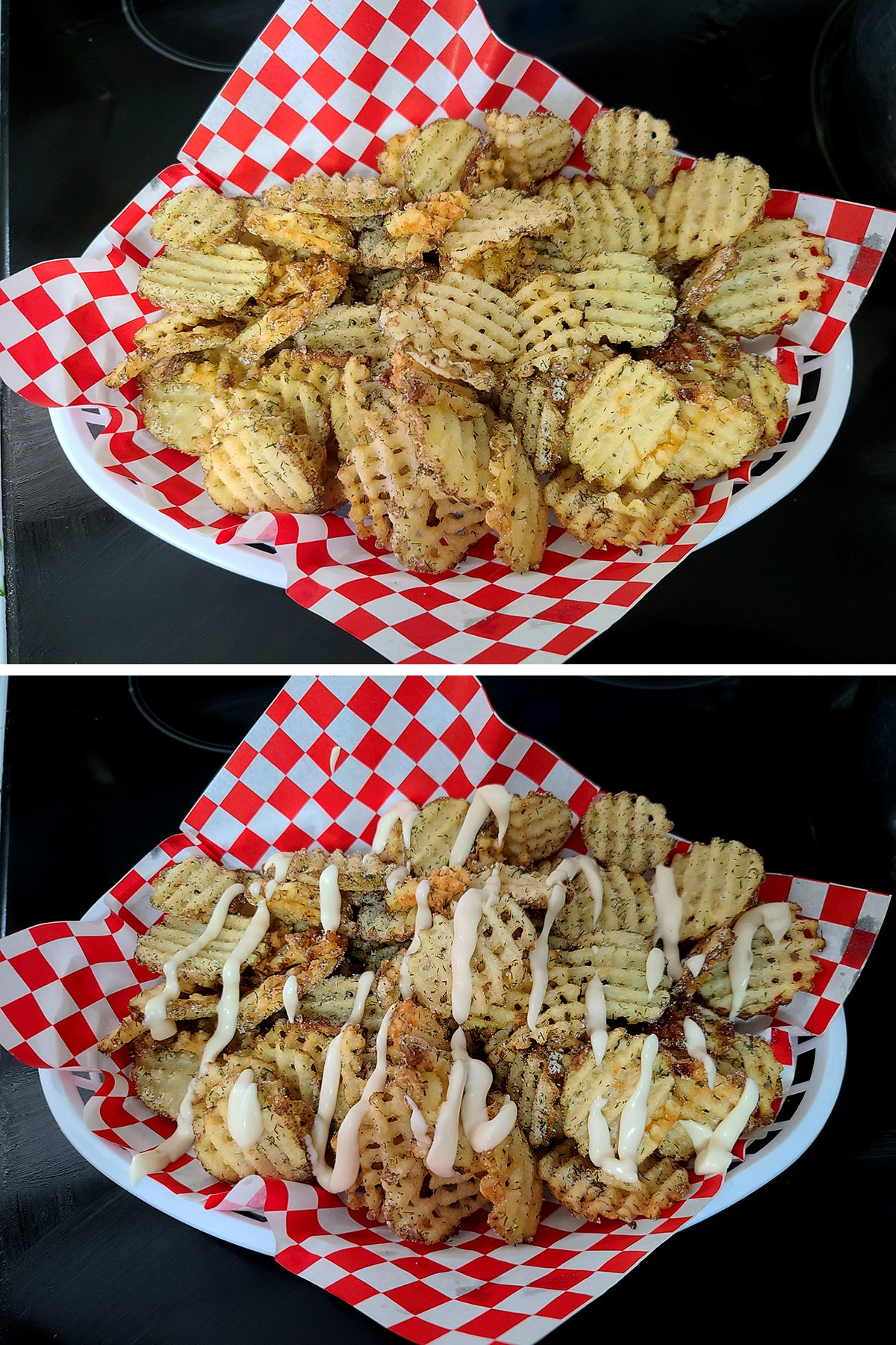 A two part compilation image showing waffle fries in a basket lined with red and white checkerboard paper. In the second image, the fries have been drizzled with roasted garlic aioli.