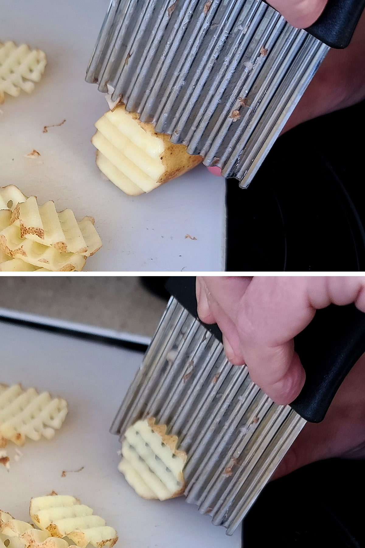 A two part compilation image showing a potato being cut with a crinkle cut knife.
