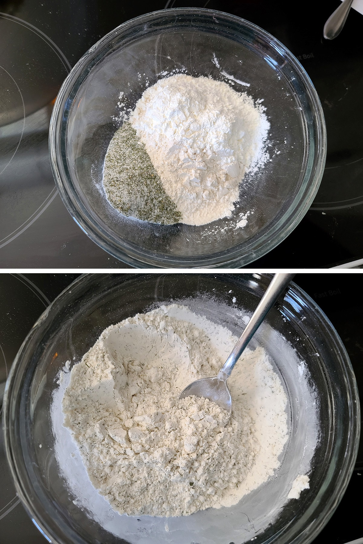 A two part compilation image, showing a glass bowl of waffle fry coating ingredients, before and after mixing them together.