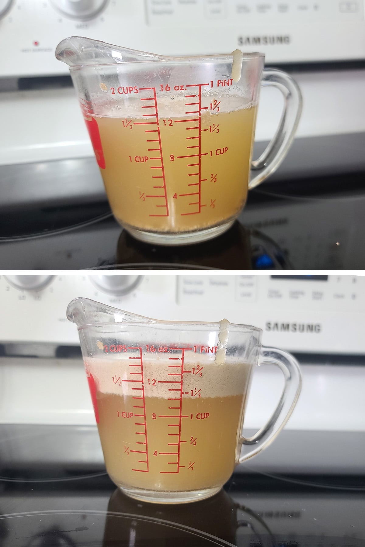 """A two part image showing a 2 cup glass measure full of honey water and yeast, before and after the yeast formed a 1"""" thick layer of foam on the water."""