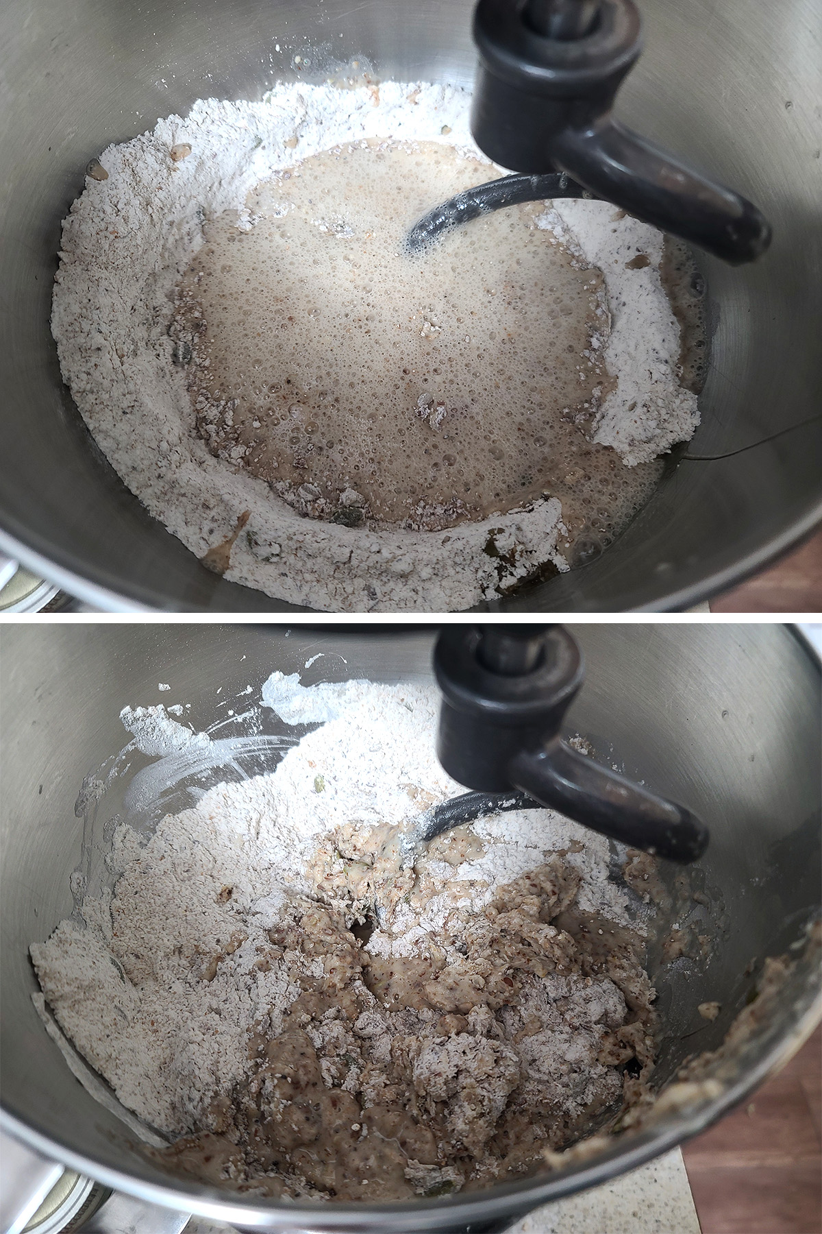 A two part image showing the liquid being poured into the mixer bowl of dry ingredients, and after it's been stirred in a little.
