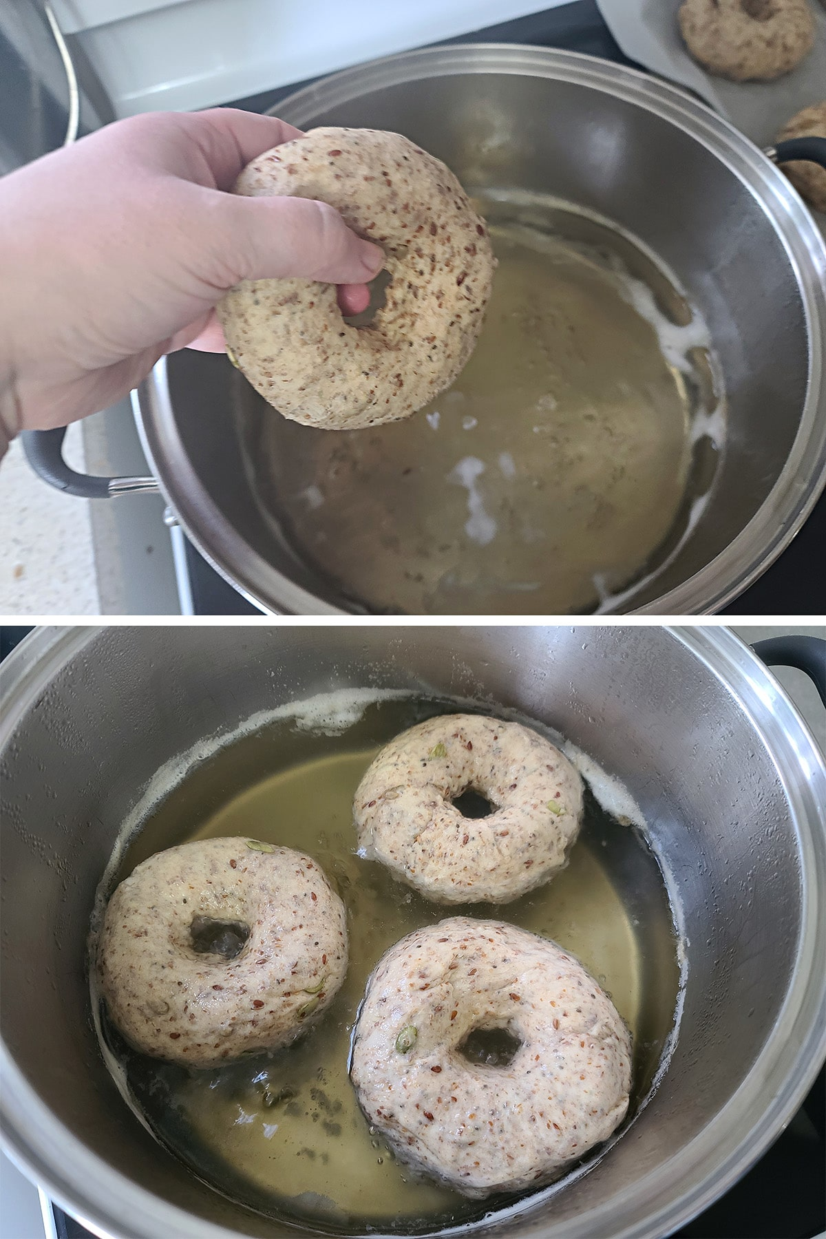 A two part image showing a hand holding a formed bagel over a pot of boiling honey water, and then 3 bagels simmering in the pot.