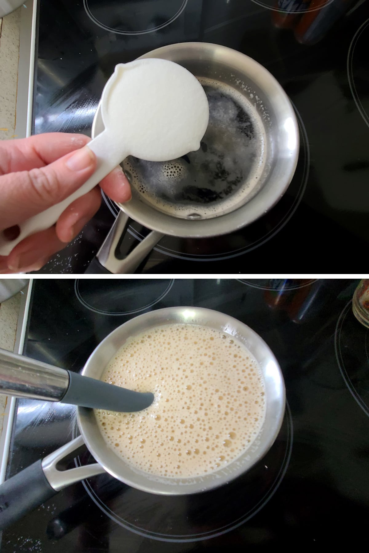 A two part image, showing sugar being added to a small pot of root beer, and the pot fizzing up after being stirred.