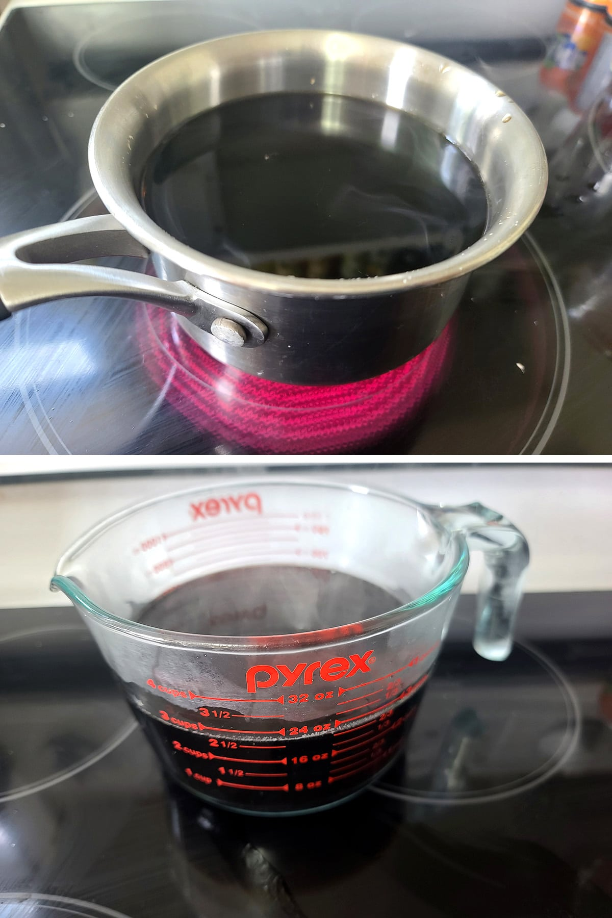 A two part image showing flat root beer in a small pot, then a large glass measuring up with that root beer in it, steaming.