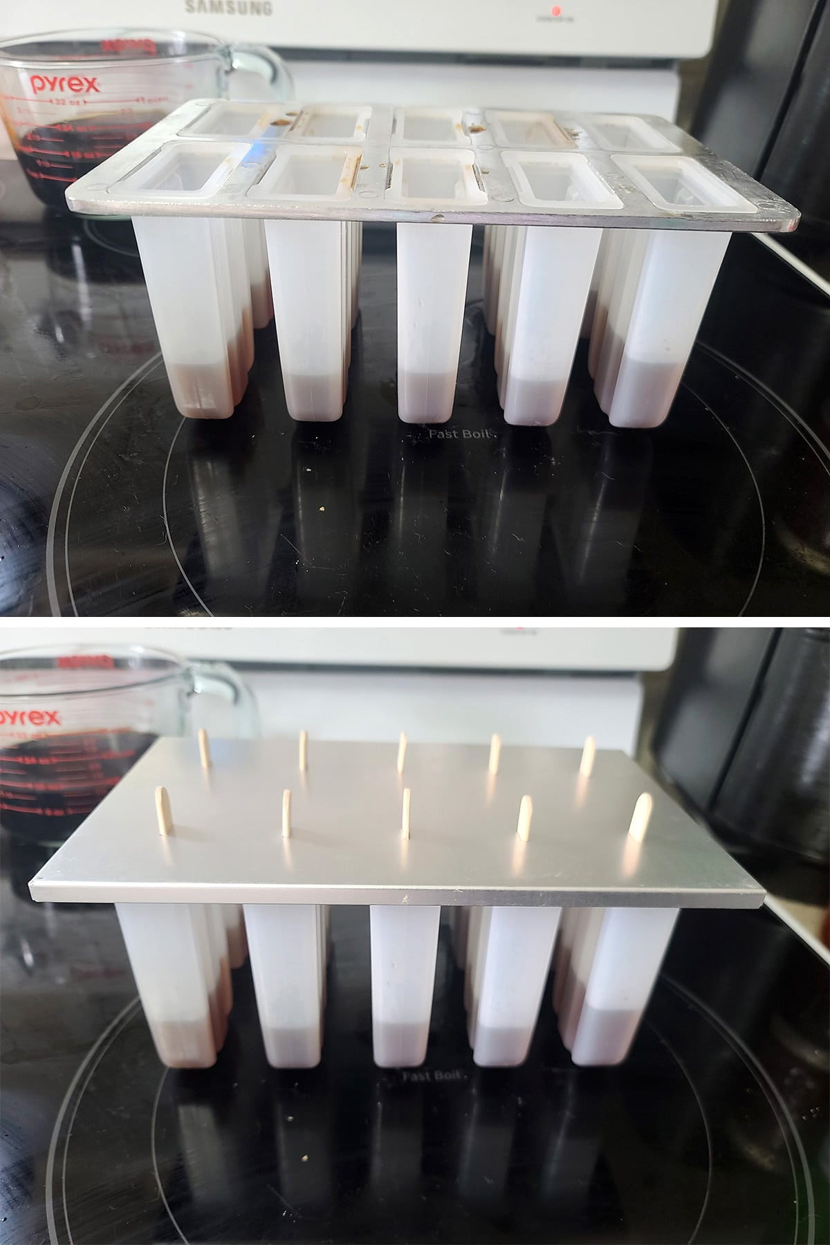 A two part image showing root beer mixture in the bottom ⅓ of the popsicle mold cavities, then the mold set up with a lid and popsicle sticks.