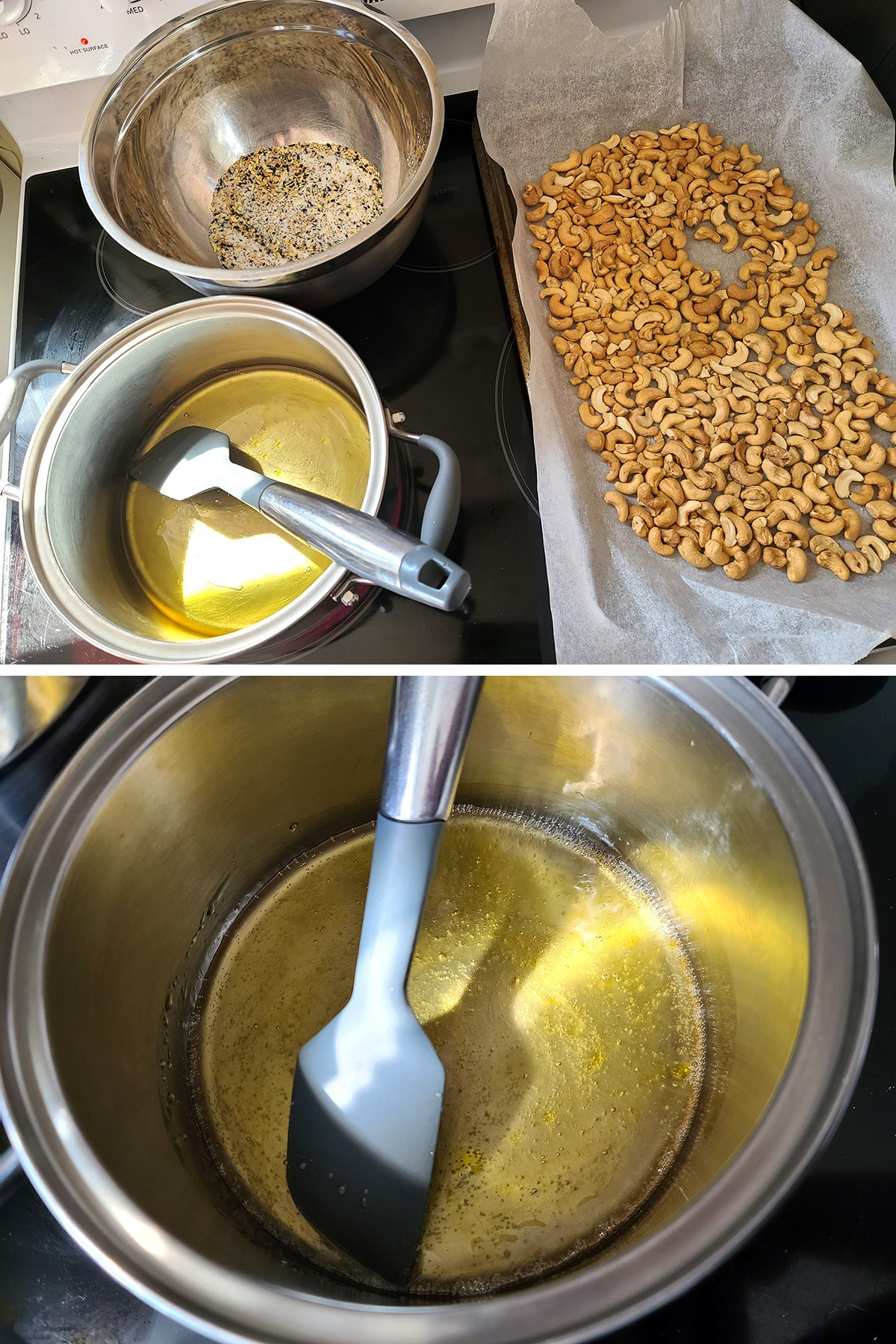 A two part image showing the pan of nuts, the bowl of seasoning mixture, and a pot with honey and oil, on a stovetop, as well as a close up view of the honey simmering.