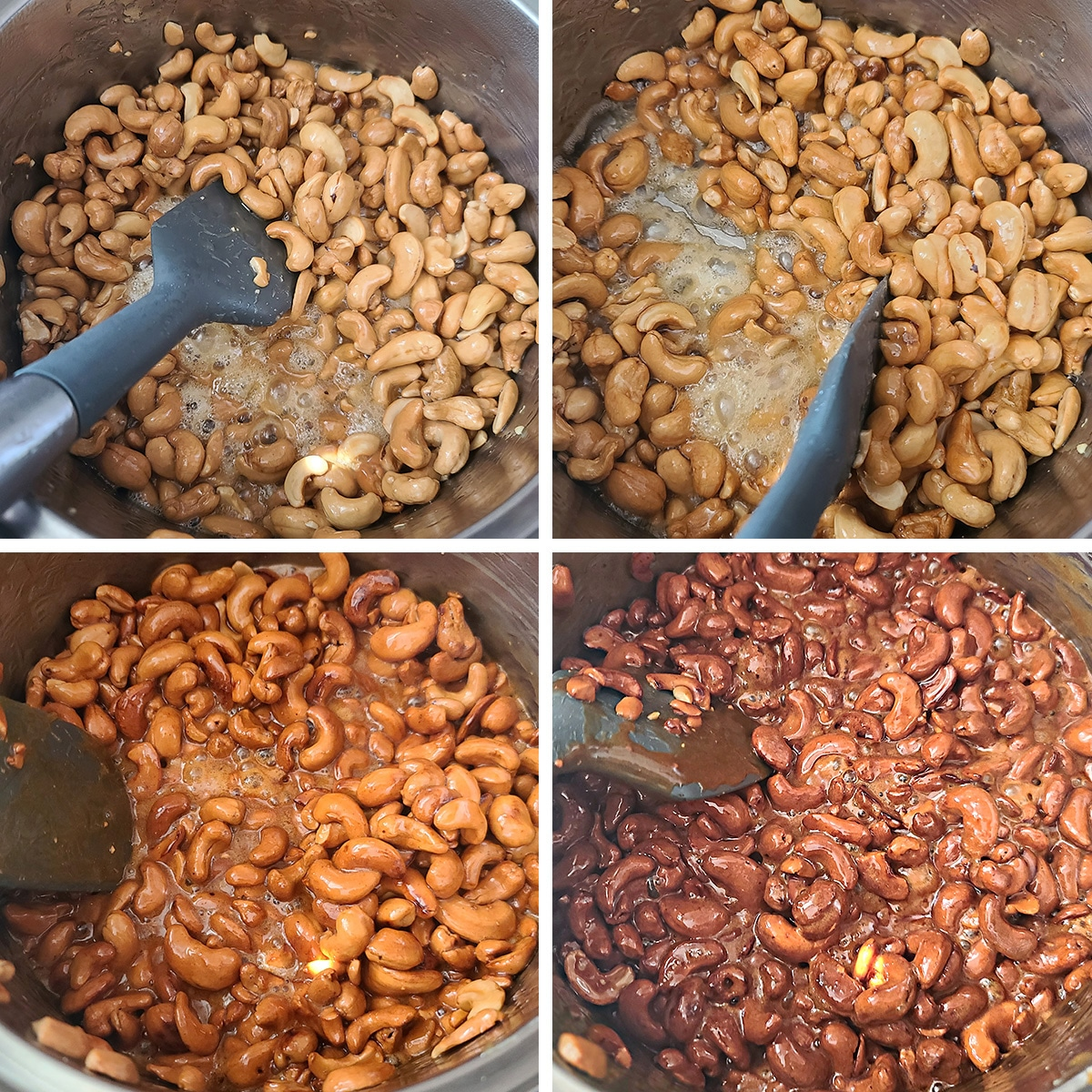 A 4 part compilation image showing the process of honey glazing cashews. They start out light coloured and with a lot of liquid, progress through a few darker shade, into a dark reddish caramel colour.