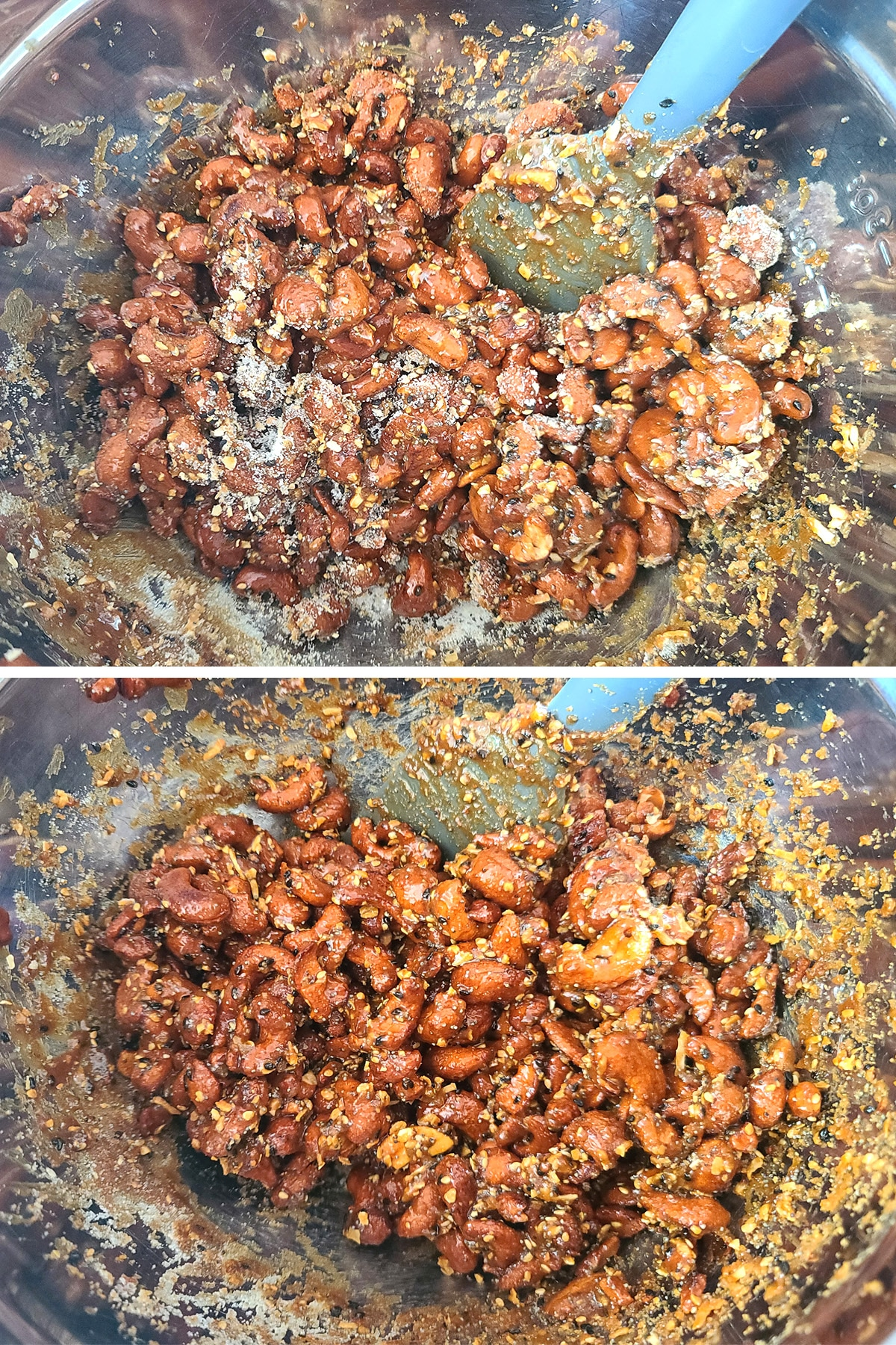 A two part image showing the glazed nuts being tossed with the sugar everything seasoning mixture. In the top image, sugar is visible on the nuts. In the second, the sugar has been absorbed.
