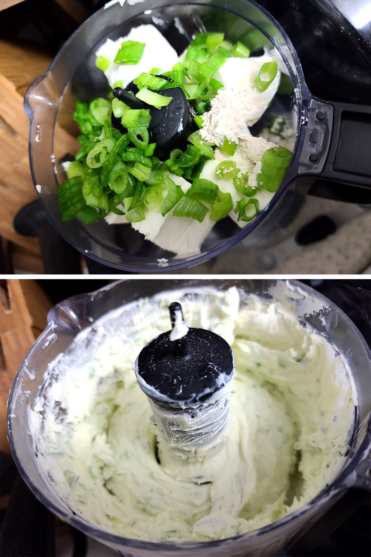 Green onions and cream cheese in a mini food processor, before and after processing.