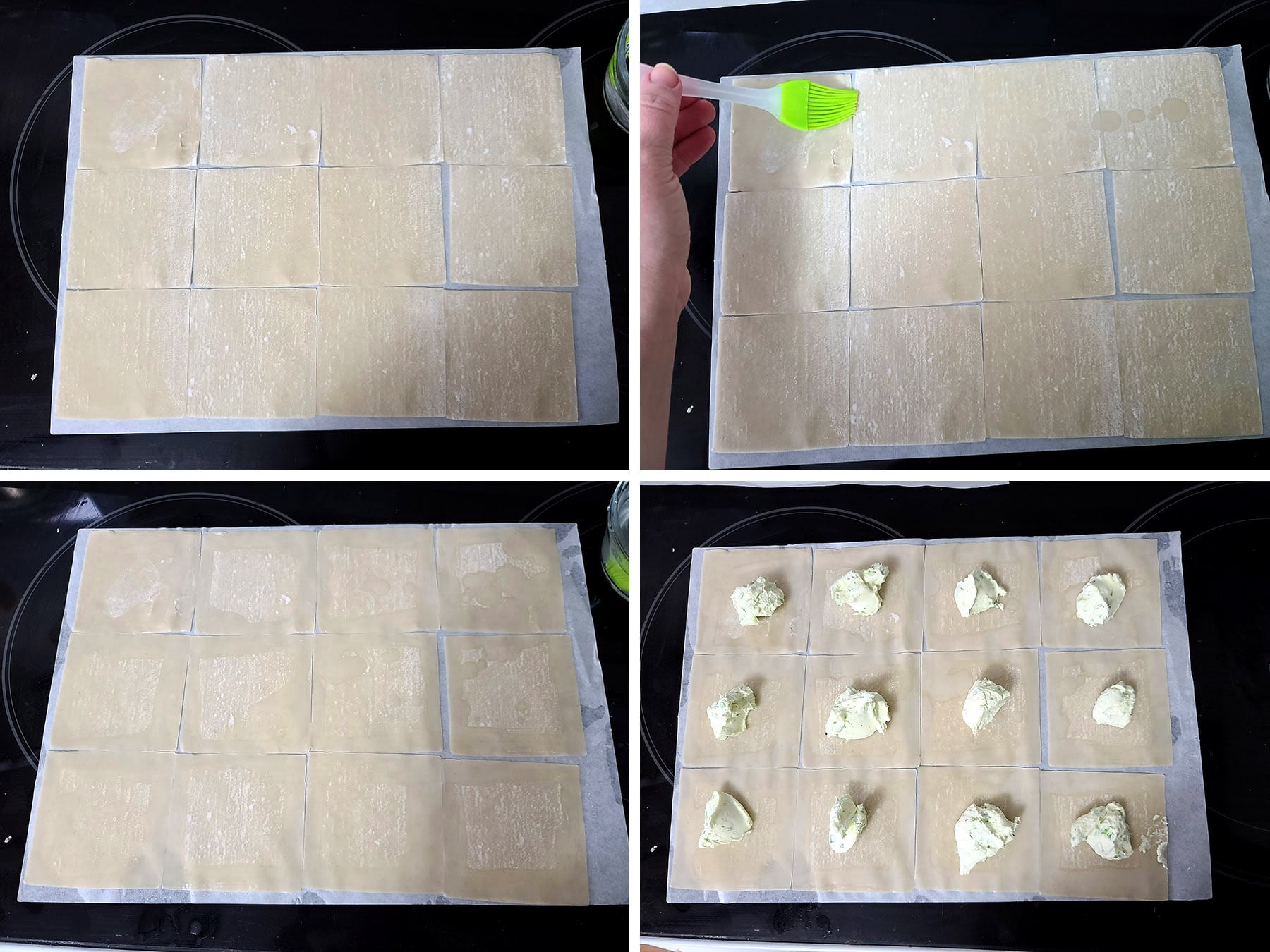 A 4 part image showing water being brushed on 12 wonton wrappers, then cheese added to the middle of each.