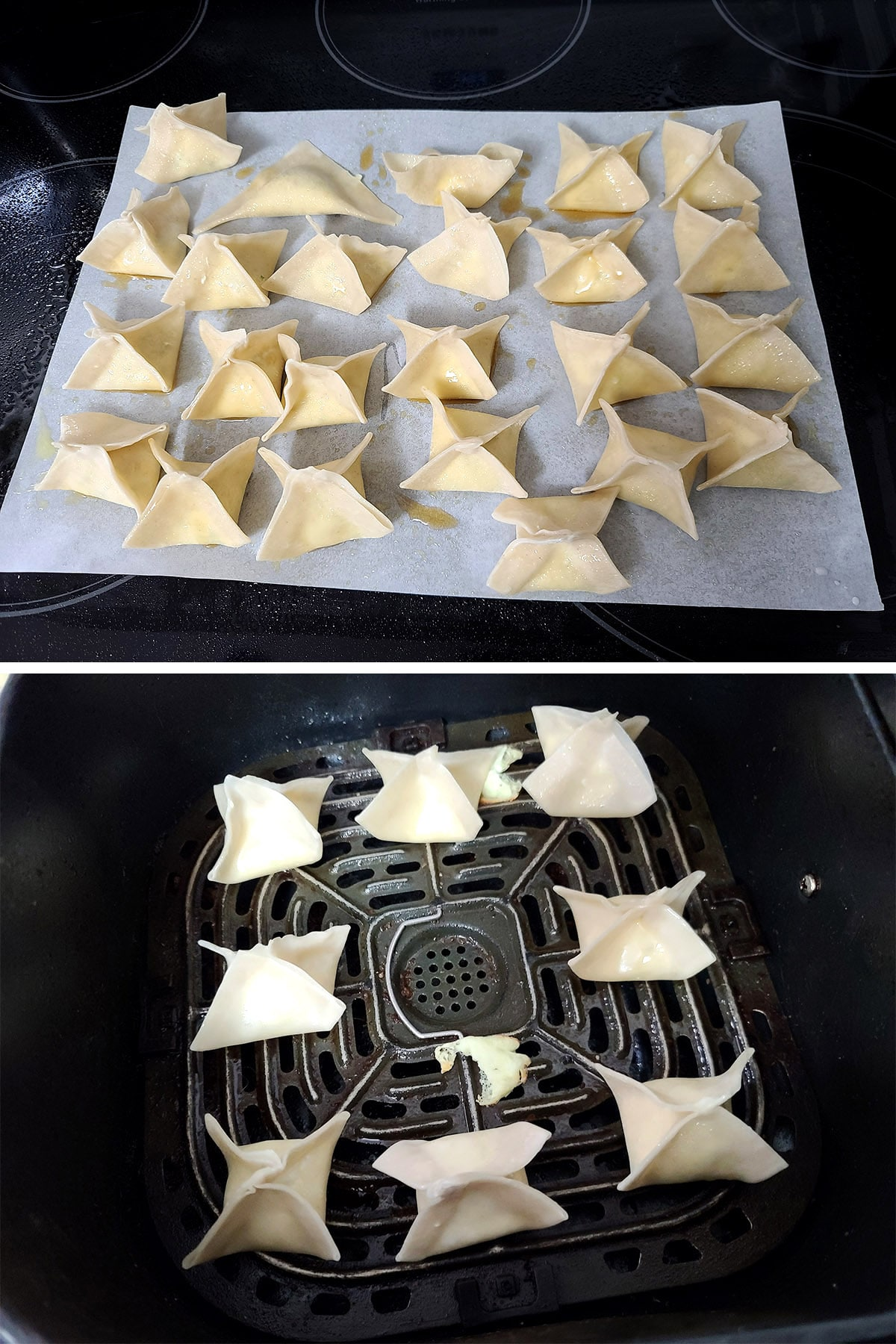 24 folded cream cheese wontons on a parchment sheet, and 8 of them in an air fryer.