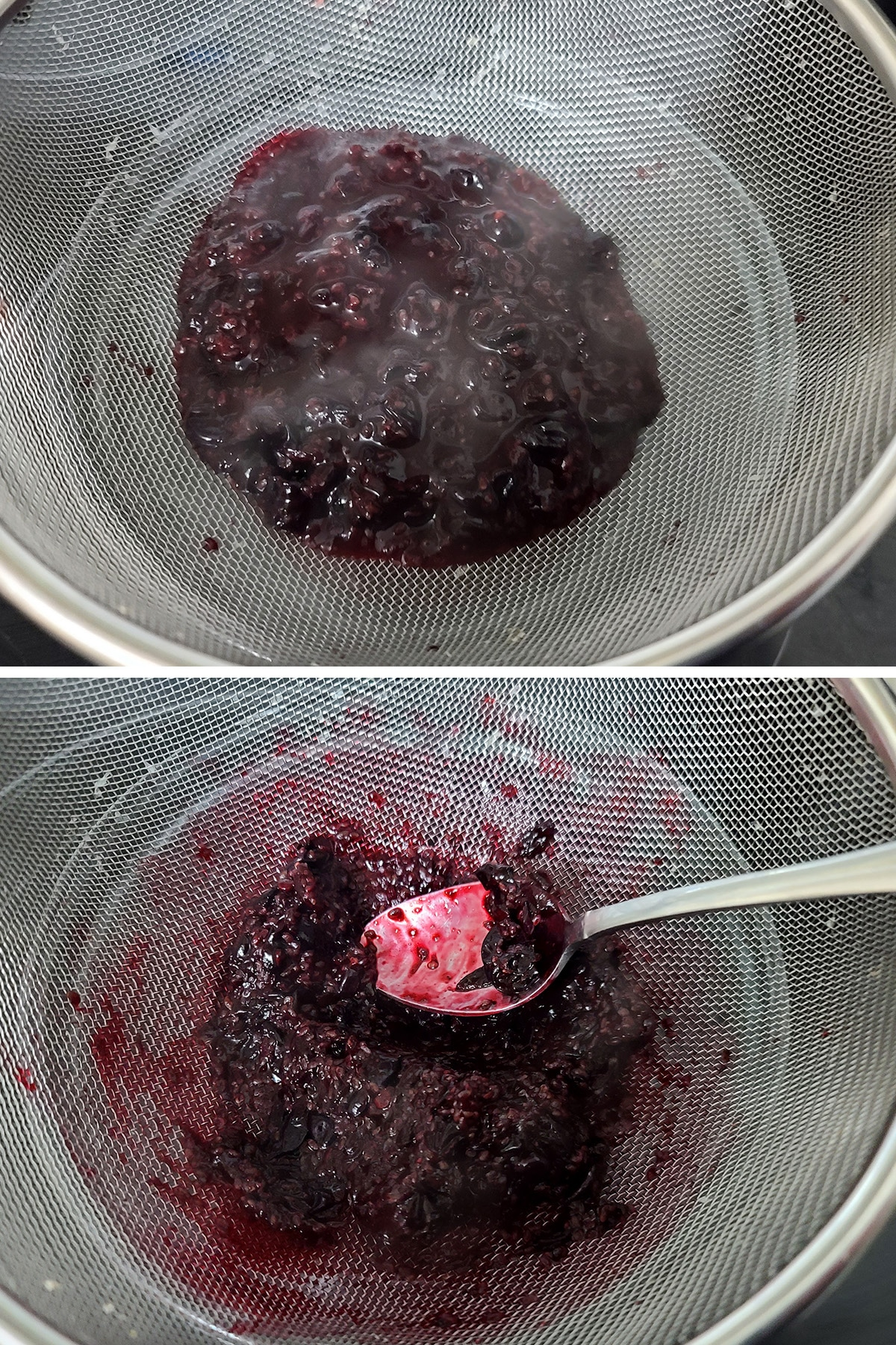 Blackcurrant pulp being pressed through a wire strainer.
