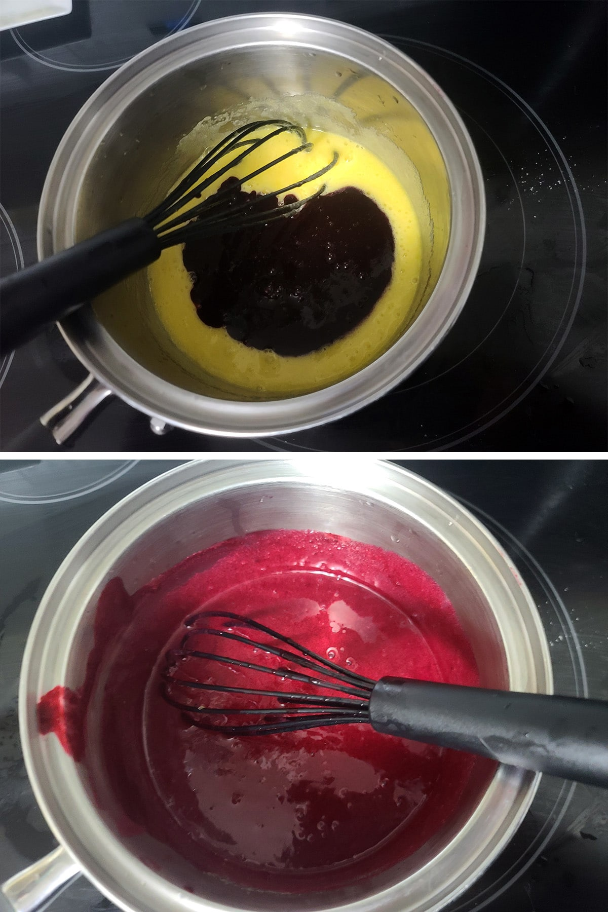 Blackcurrant pulp being whisked into the egg mixture.
