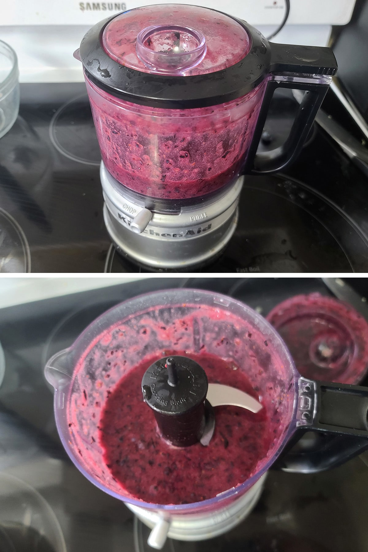 Blueberries being pureed in a mini food processor.