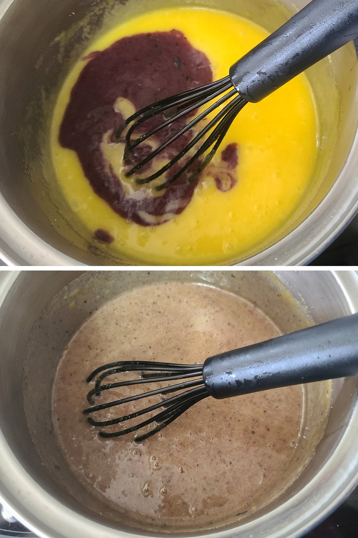 Blueberry puree being added to the pot and whisked in.