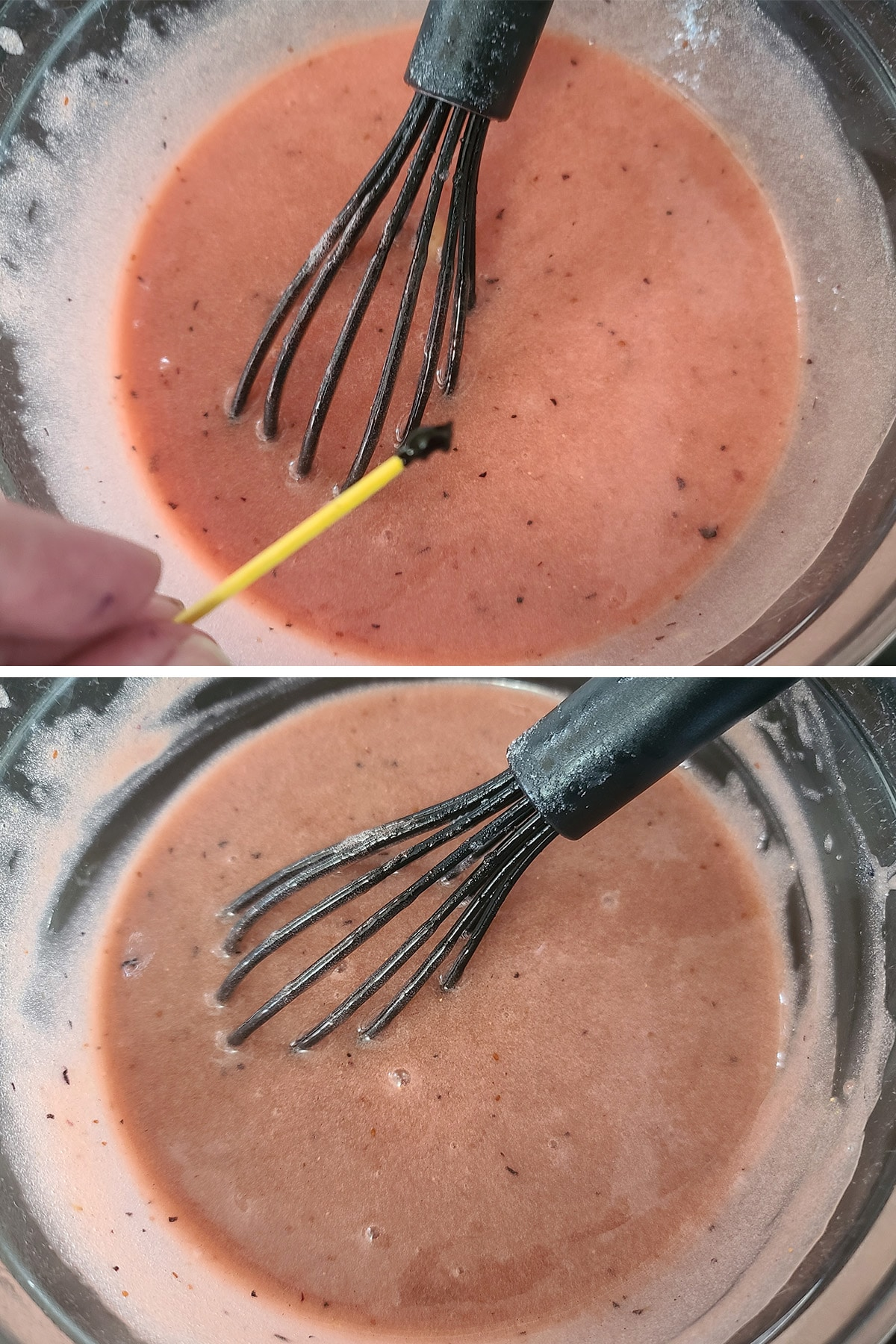 A small amount of purple food colouring being stirred into the curd.