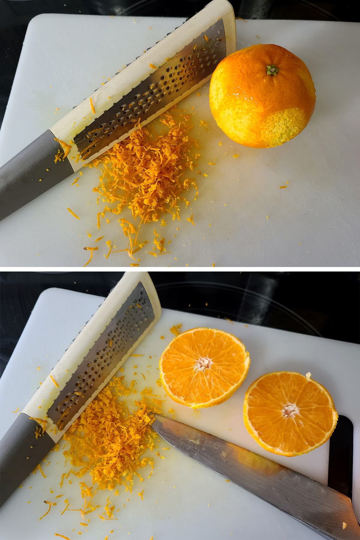 An orange being zested on a white cutting board.