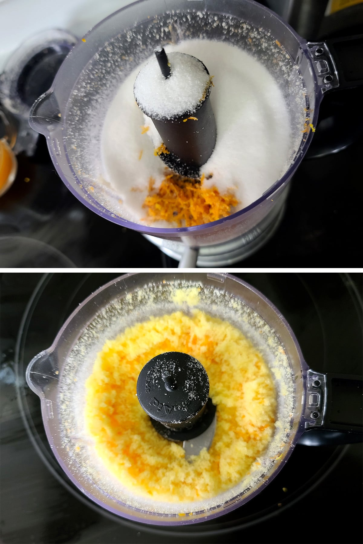 Orange zest and sugar being processed together in a mini food processor.