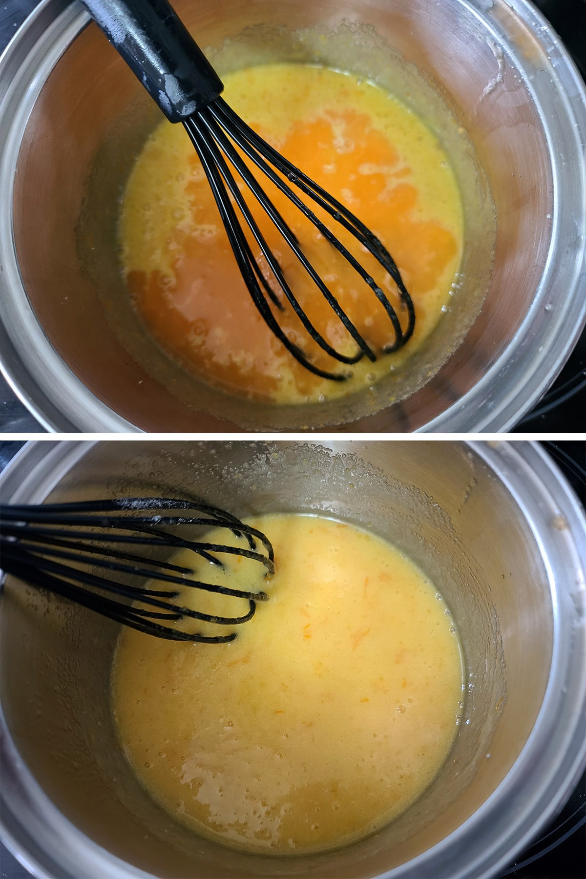 Orange juice being added to the egg mixture and whisked in.