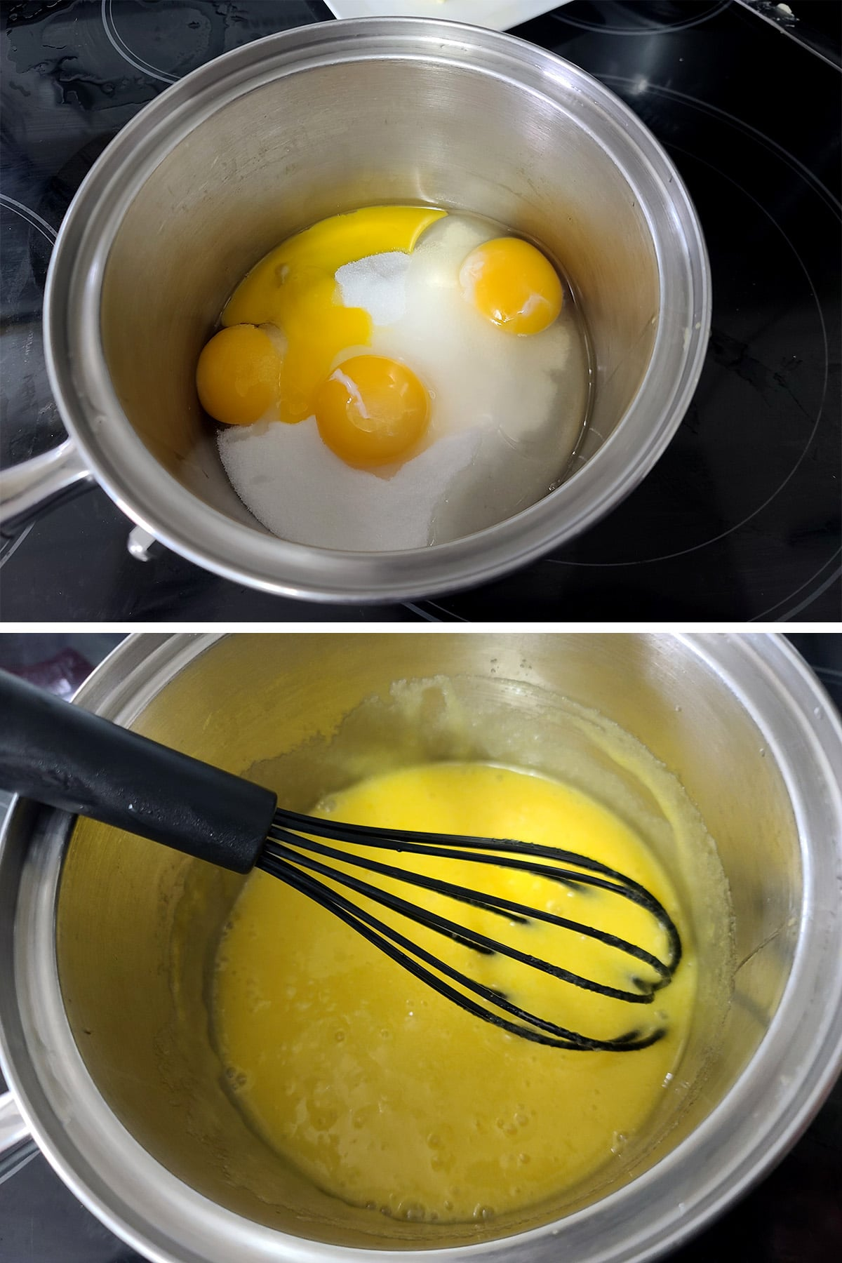 Eggs and sugar being whisked together in a pot.