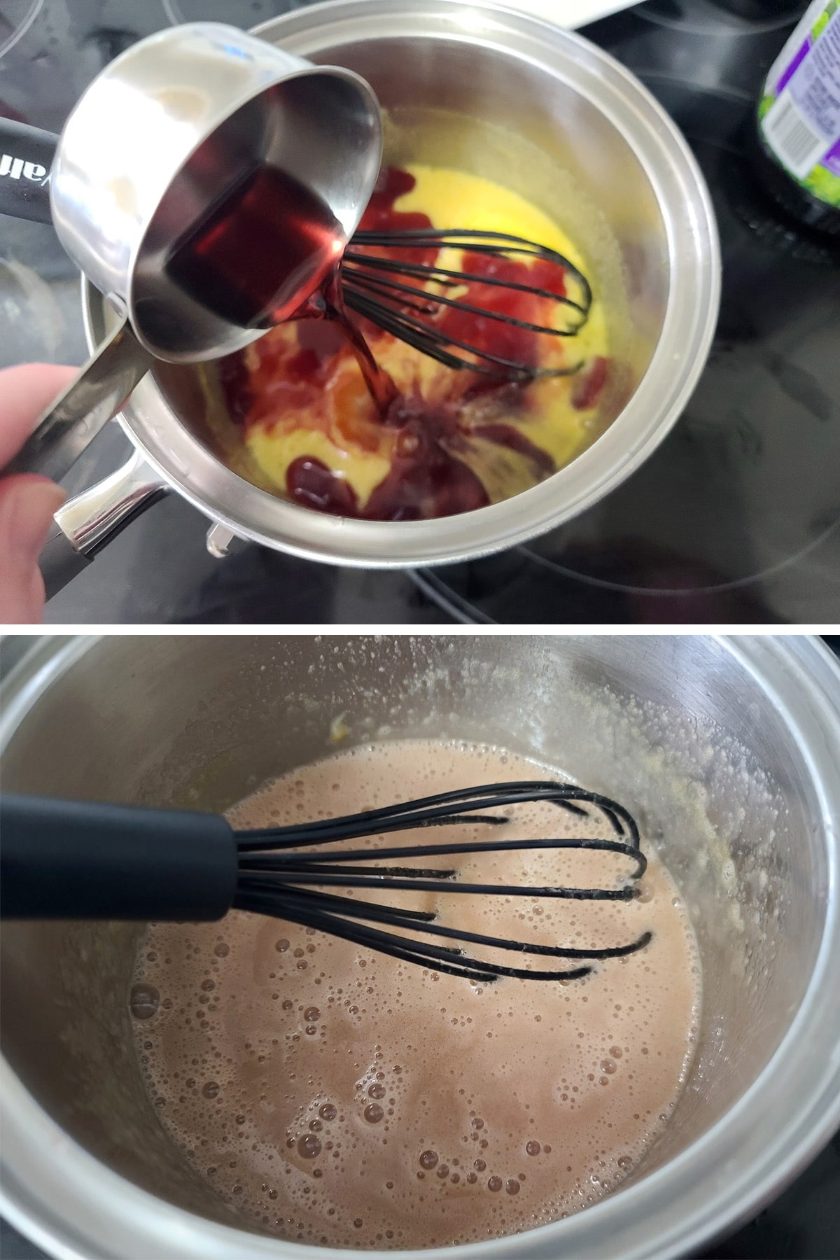Grape juice being added to the pot and whisked in.
