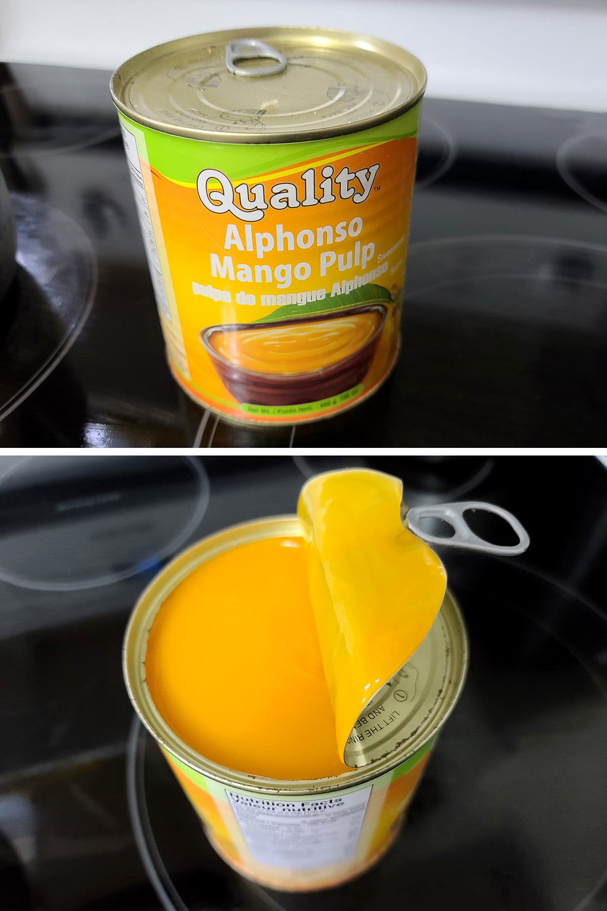 A can of mango pulp being opened.