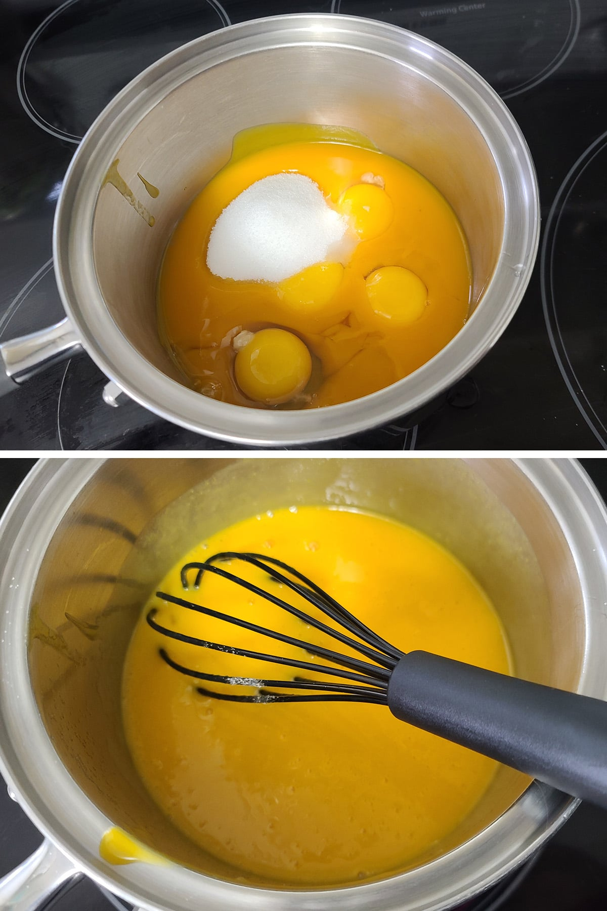 Eggs, sugar, and mango being whisked together.
