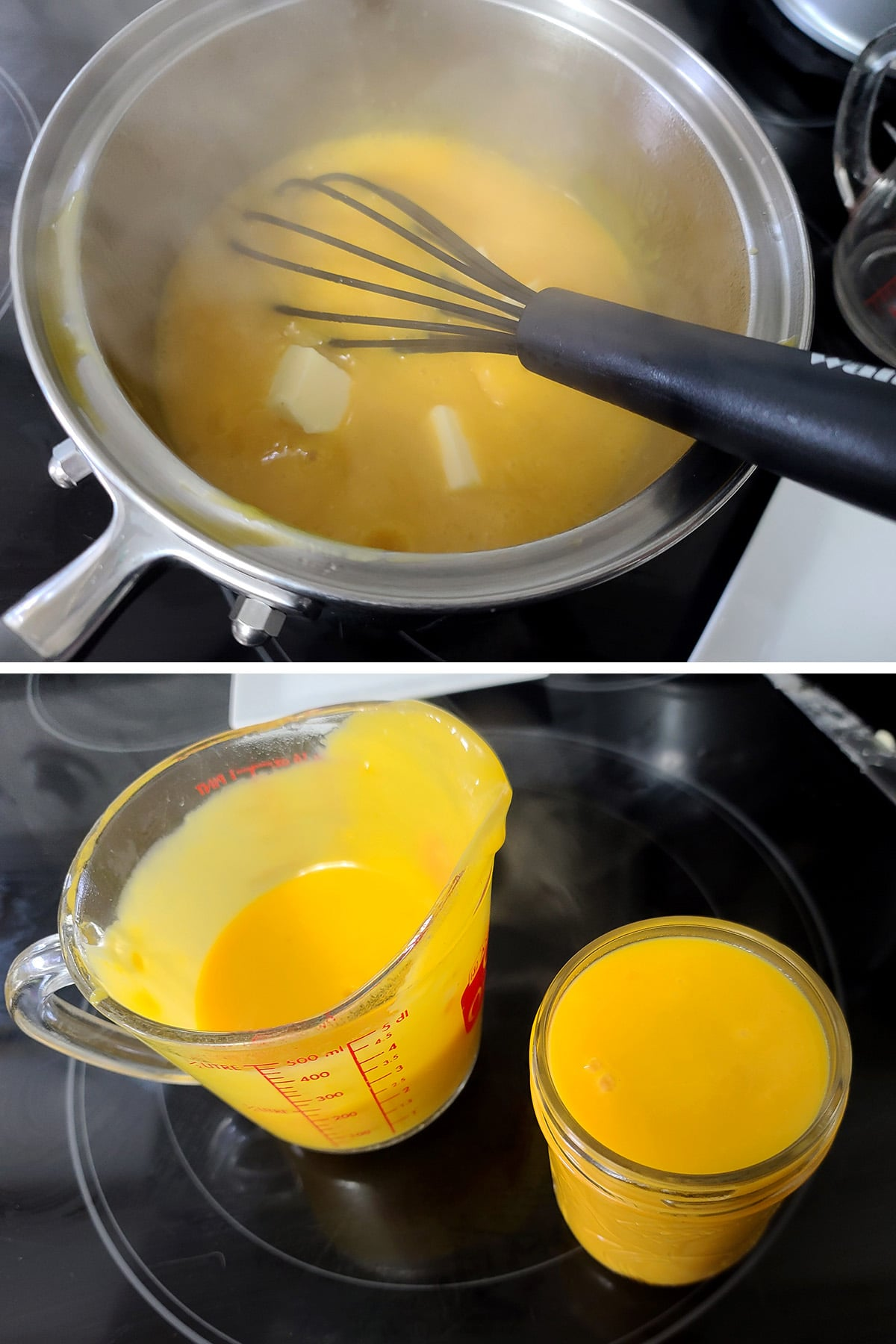 Butter being mixed into hot mango curd, the curd being transferred to a jar.