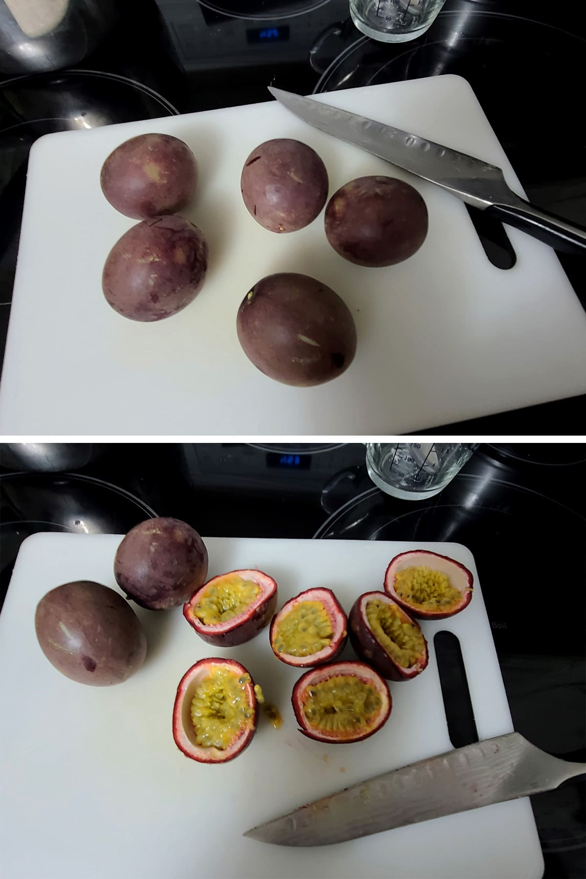 Passion fruits being sliced in half on a cutting board.