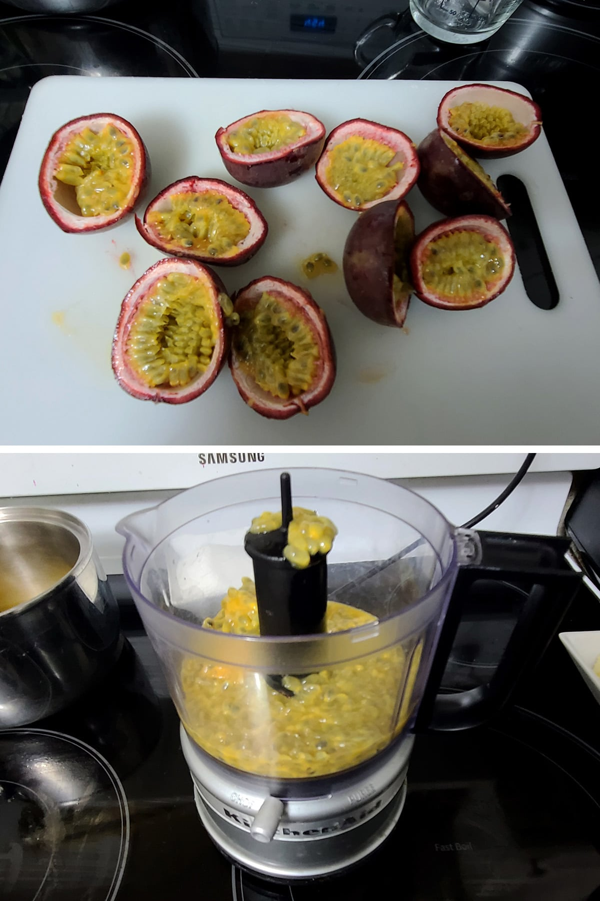 Passion fruit pulp being scooped into a mini food processor.