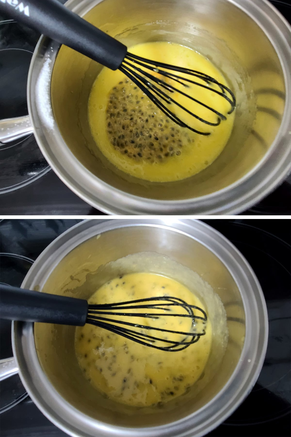Passion fruit pulp being whisked into the egg and sugar mixture.