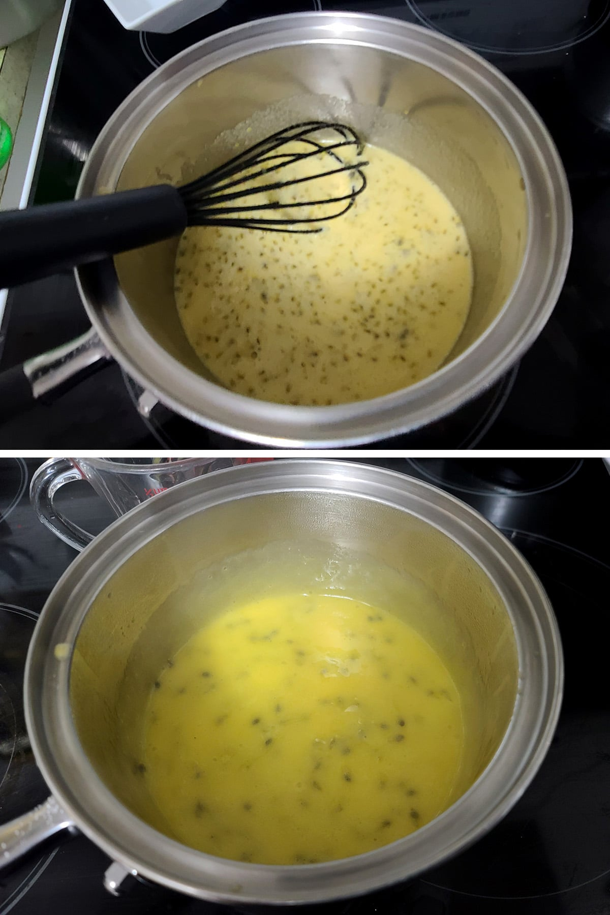 The pot of passion fruit curd being cooked, it's steaming.