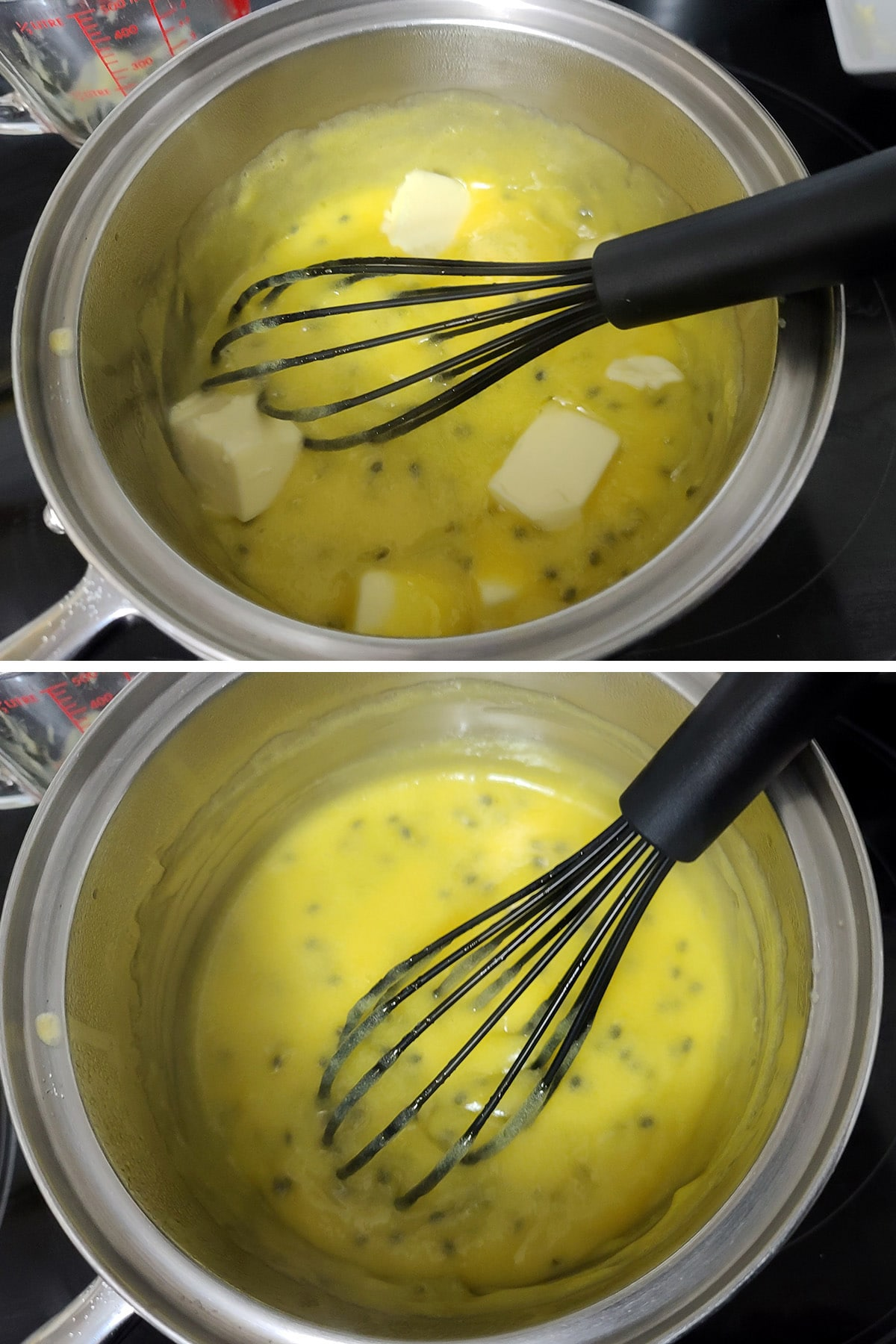 Butter being whisked into the hot curd.