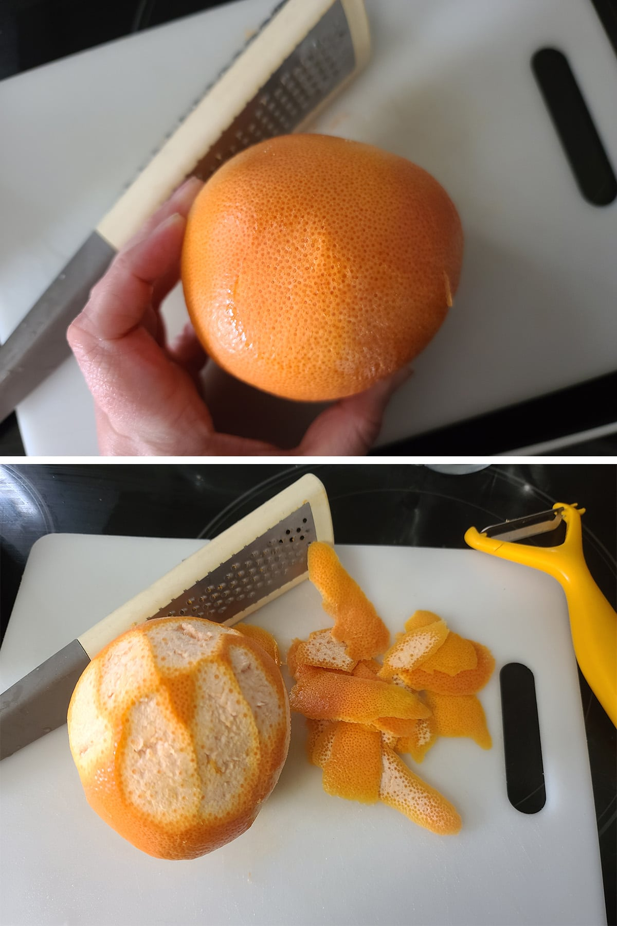 A vegatable peeling being used to get the zest off the grapefruit.