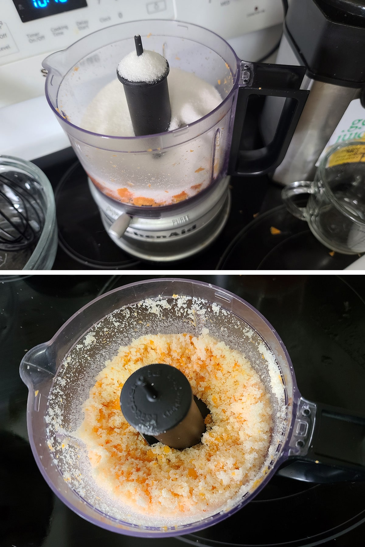 Sugar added to the food processor and blitzed with the grapefruit peel.