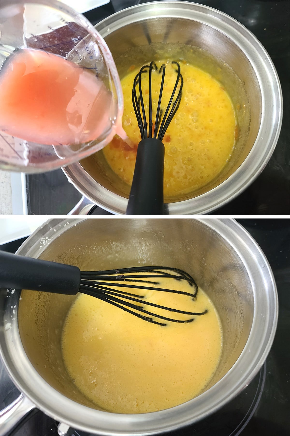 Grapefruit juice being added to the egg and sugar mixture.